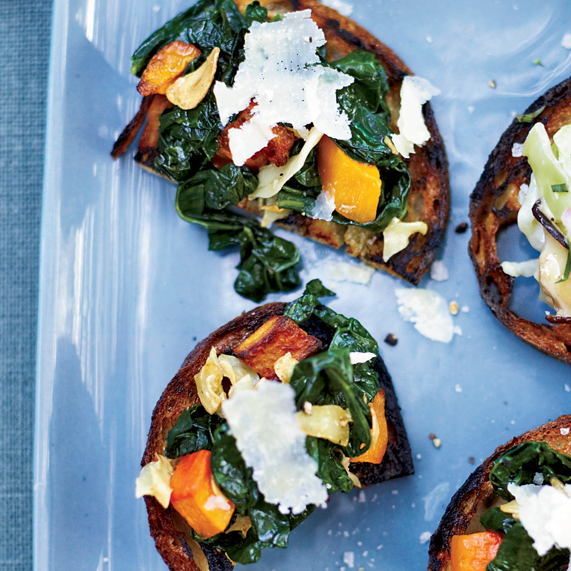 Squash-and-Kale Toasts Recipe - Steven Satterfield | Food & Wine