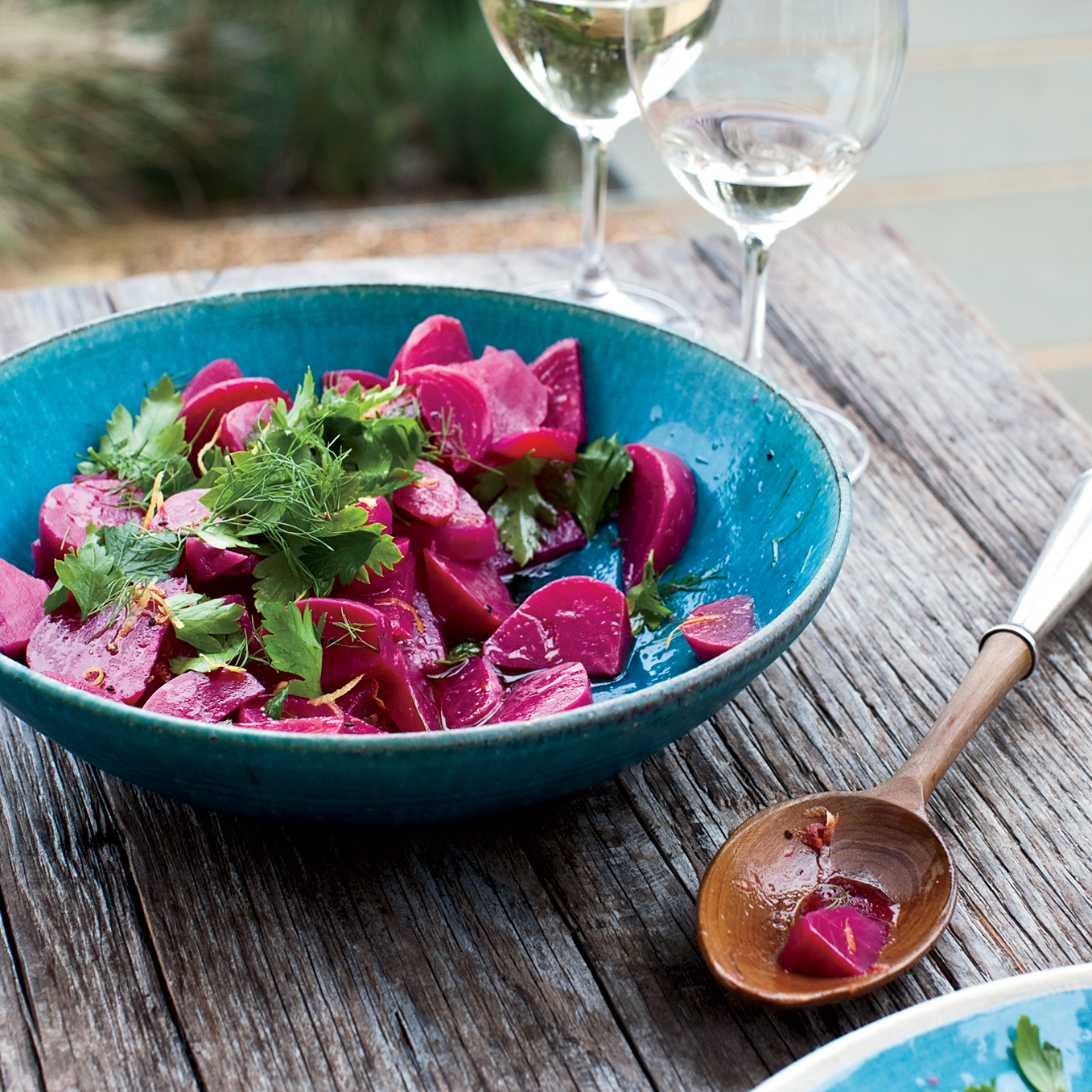 Medlock Ames winery: pickled Chioggia beets