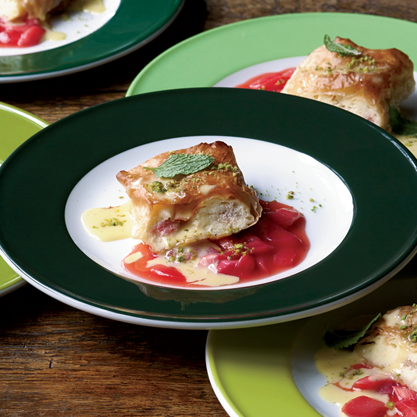 Rhubarb-Cheese Strudel with Vanilla Sauce