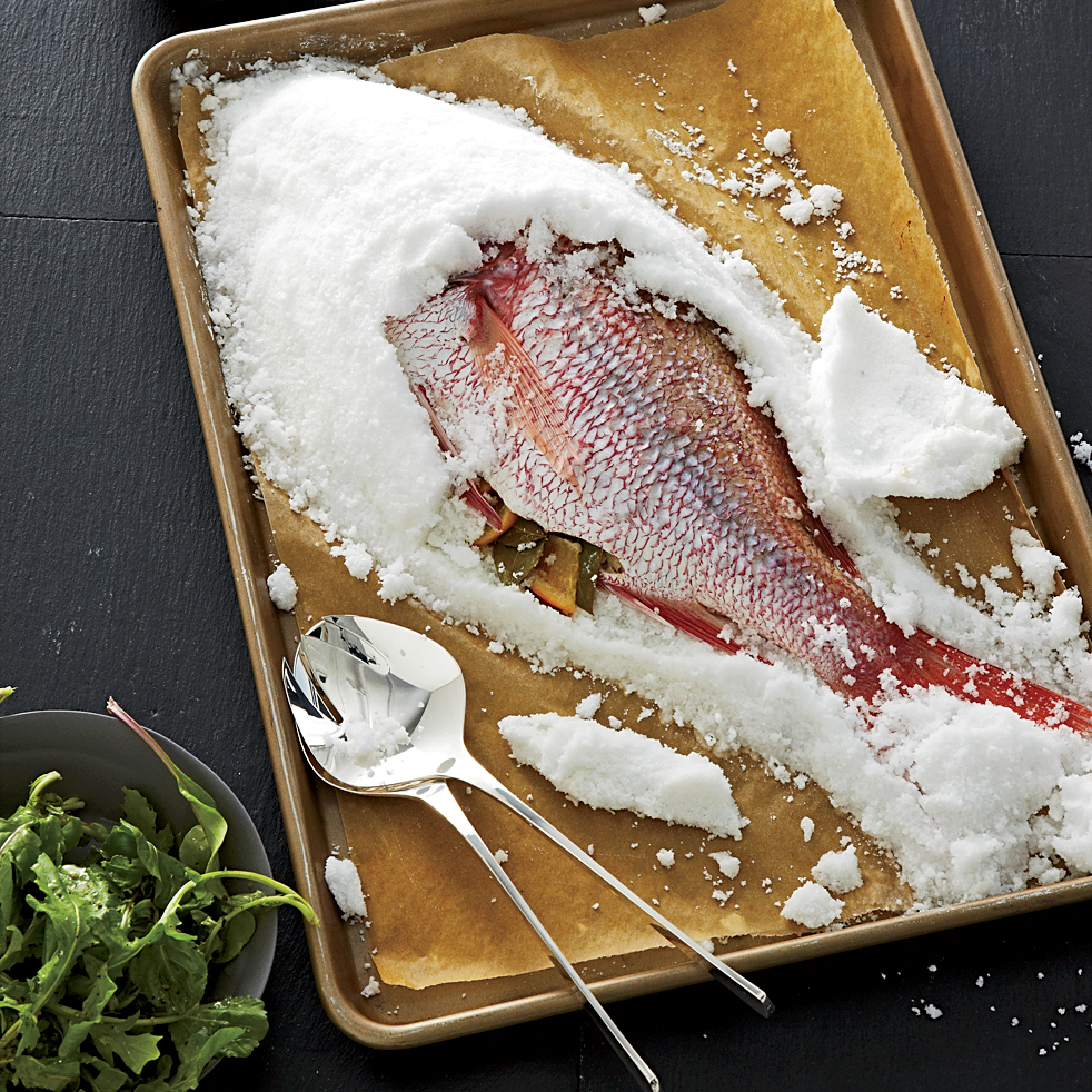 Salt crusted snapper with eggplant raisin puree recipe for Saltwater fish food