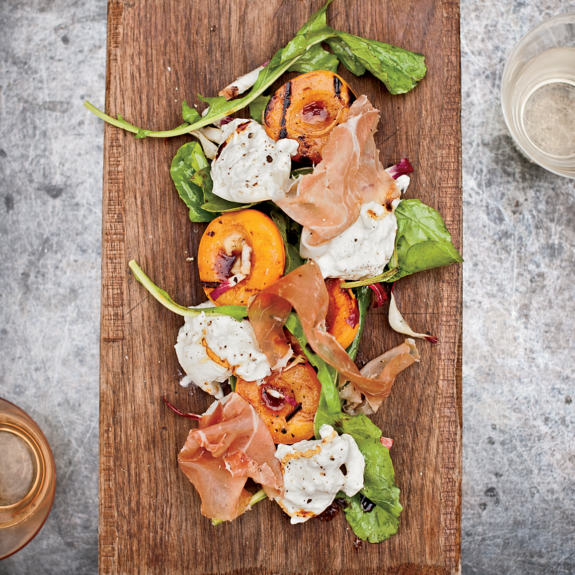 Spring Recipes: Grilled Apricots with Burrata, Country Ham and Arugula