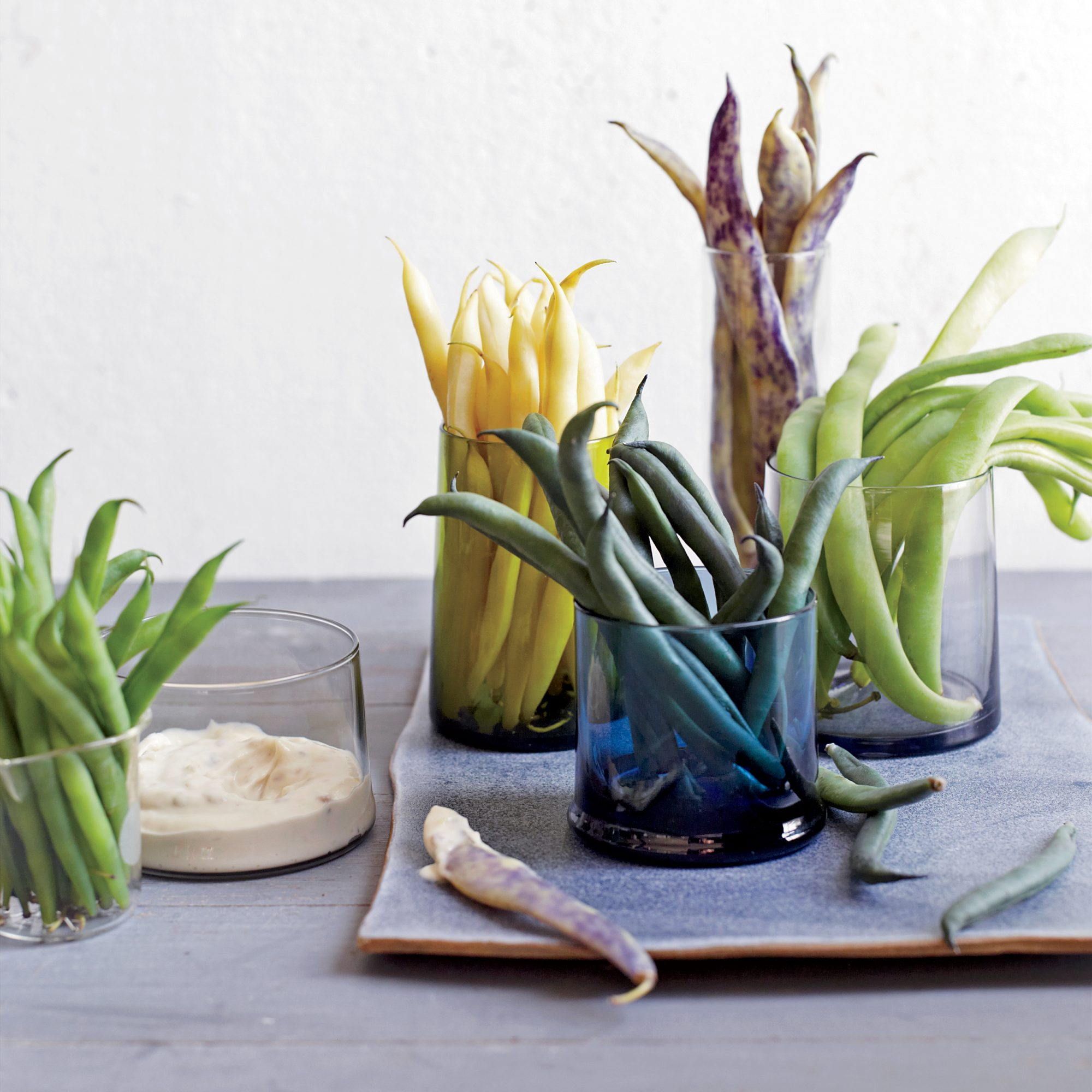 Mixed-Bean Crudités with Olive-Anchovy Aioli