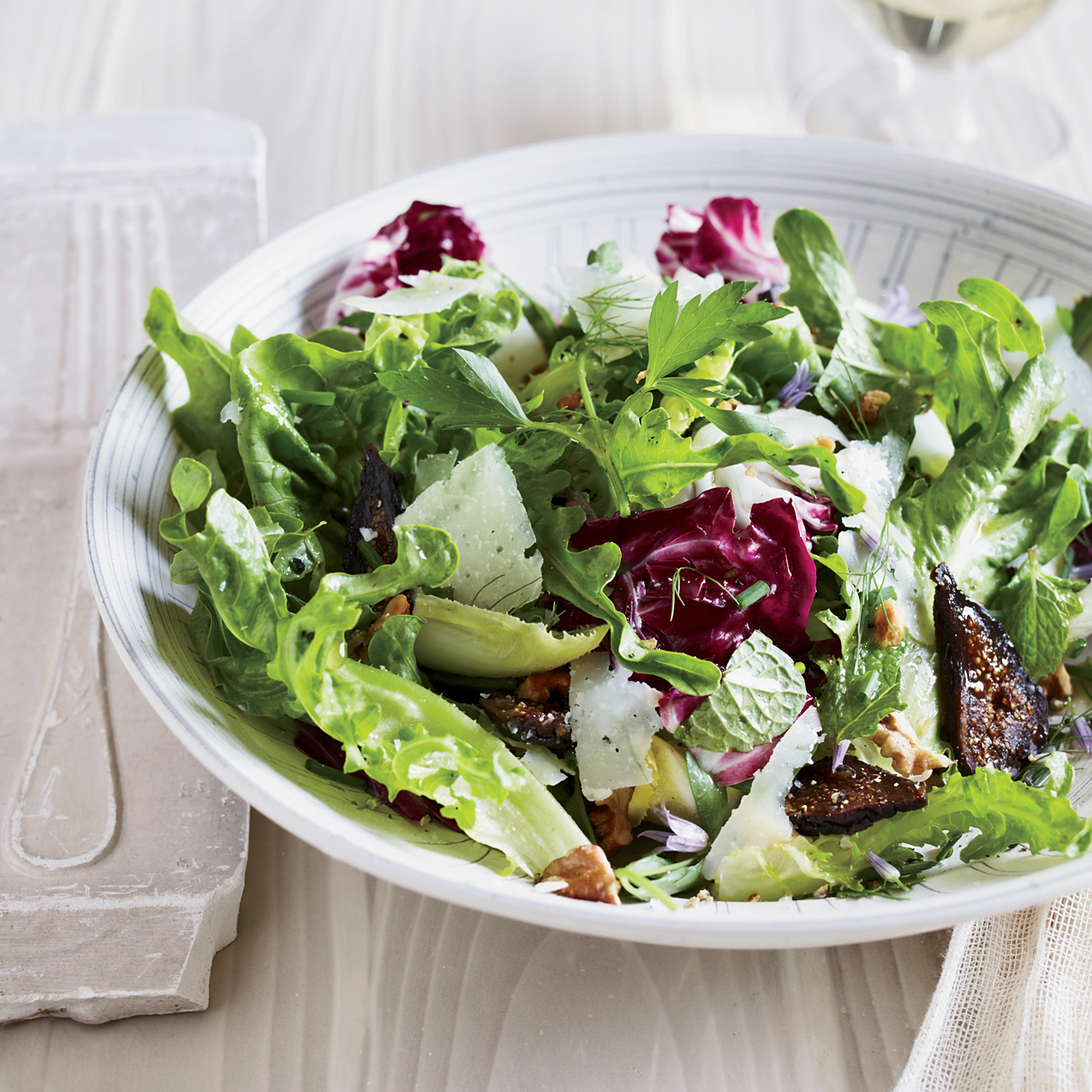 mixed greens and herb salad with figs and walnuts recipe jessica