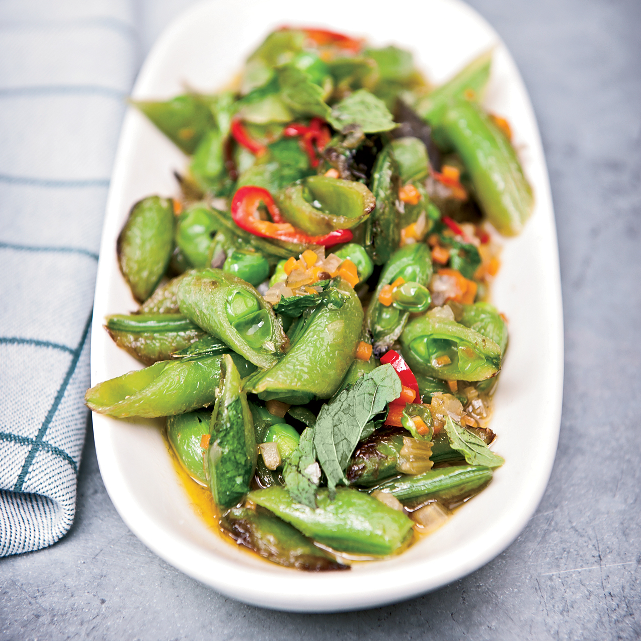 Fast Side Dish Recipes like Sugar Snap Peas with Soffrito, Hot Pepper and Mint