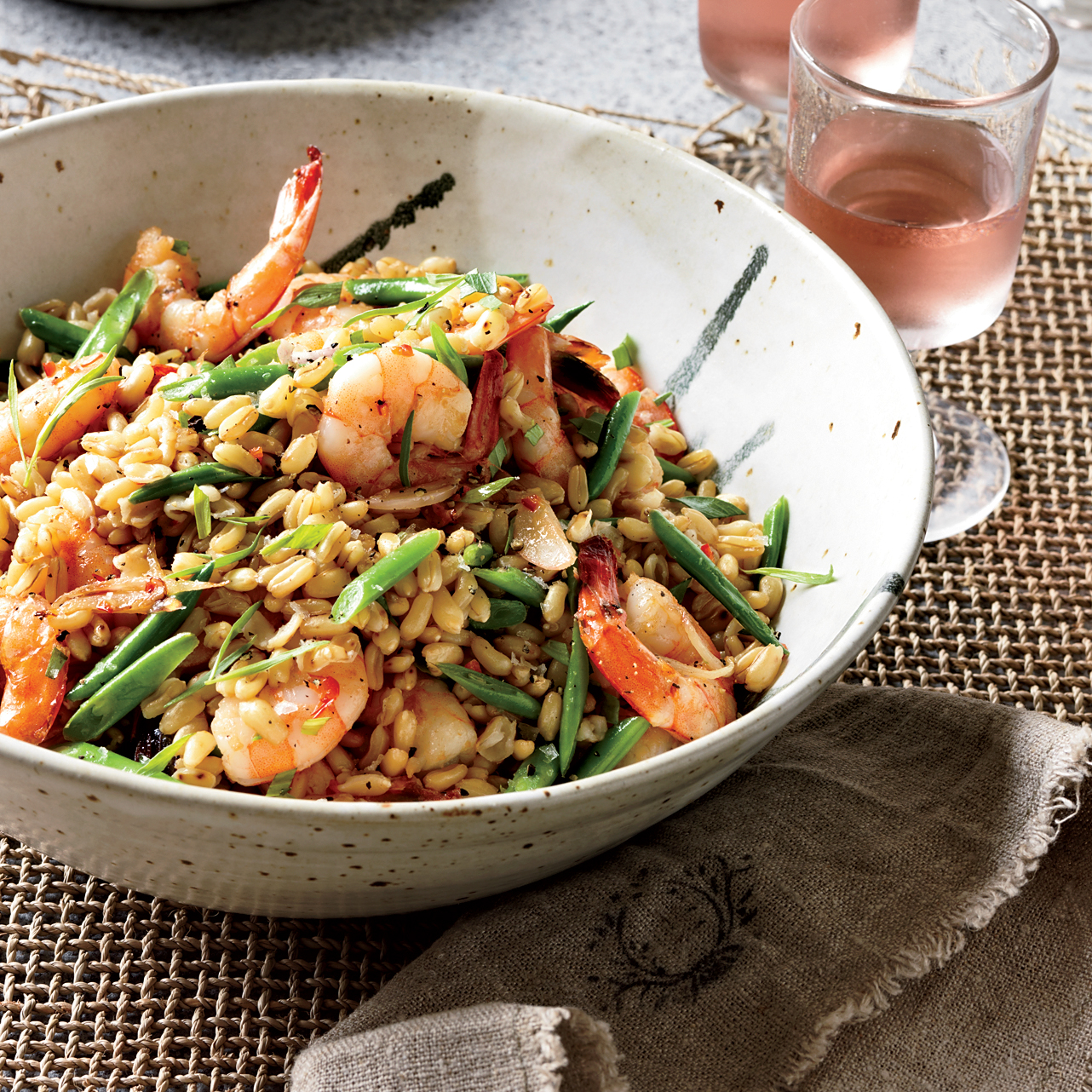 warm shrimp salad with kamut red chile and tarragon recipe