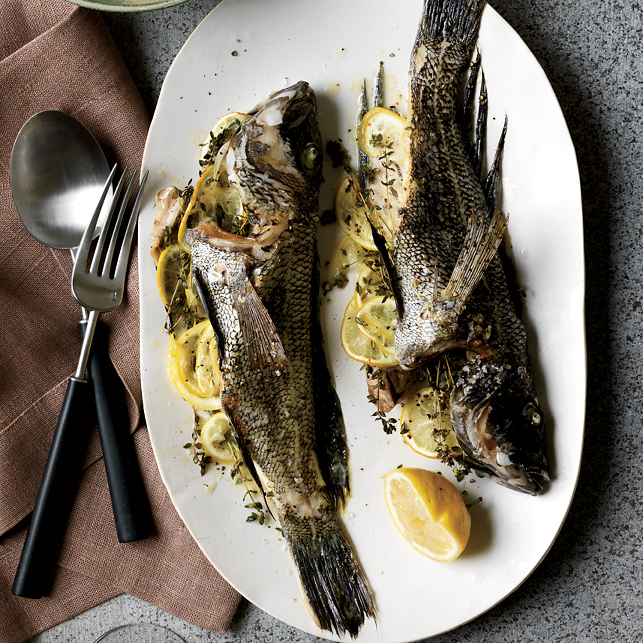 Whole Fish Roasted with Potatoes and Thyme Recipe