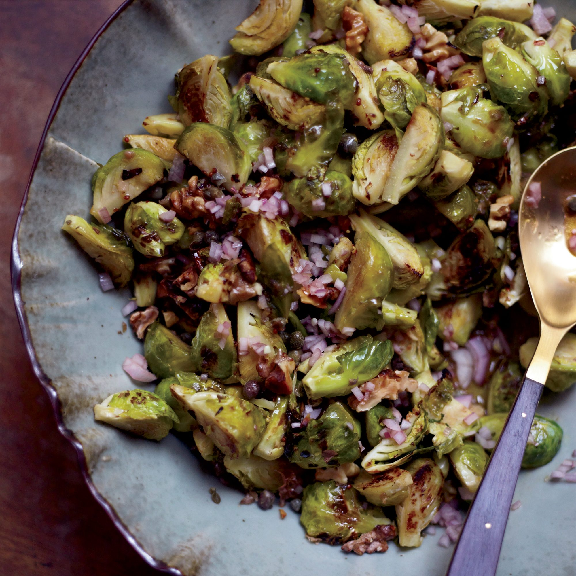Roasted Brussels Sprouts with Capers, Walnuts and Anchovies