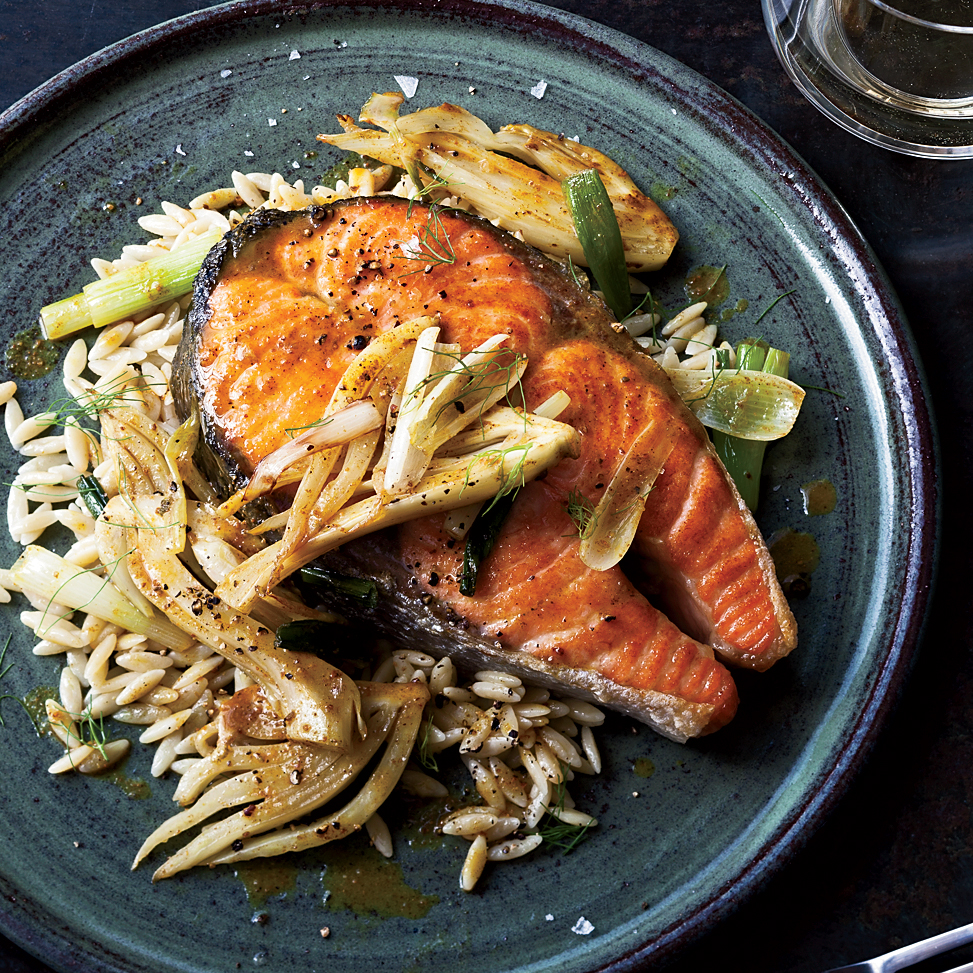 Salmon Steaks With Curried Fennel Wine Sauce Recipe