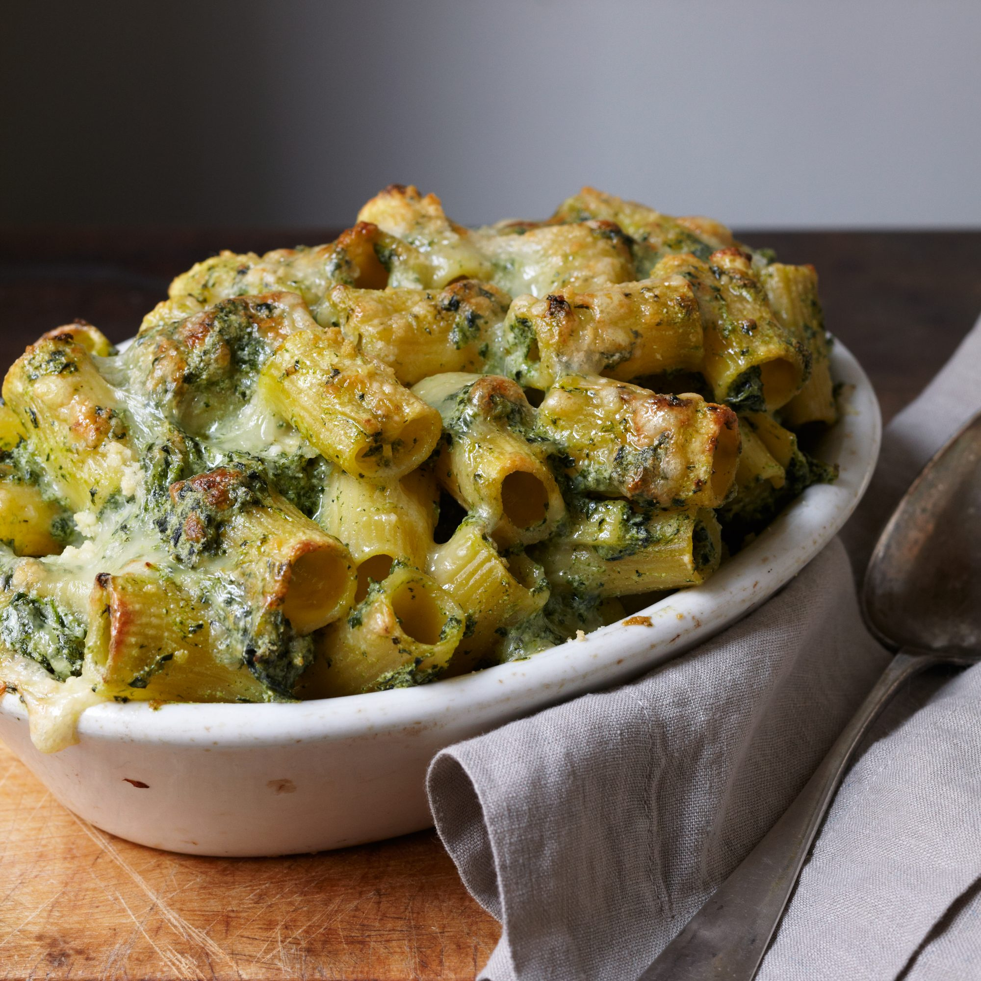 Baked Rigatoni with Spinach, Ricotta, and Fontina