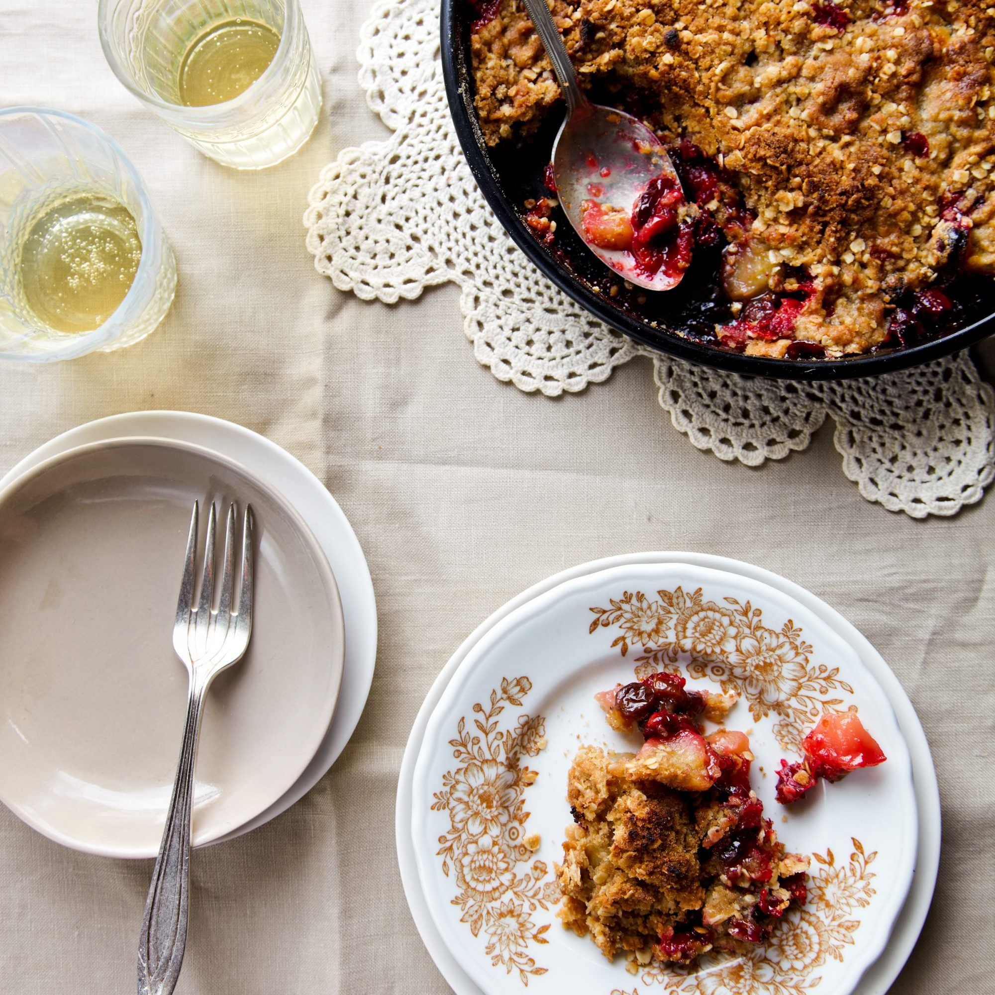 Easy Holiday Desserts like Cranberry Apple Raisin Crisp