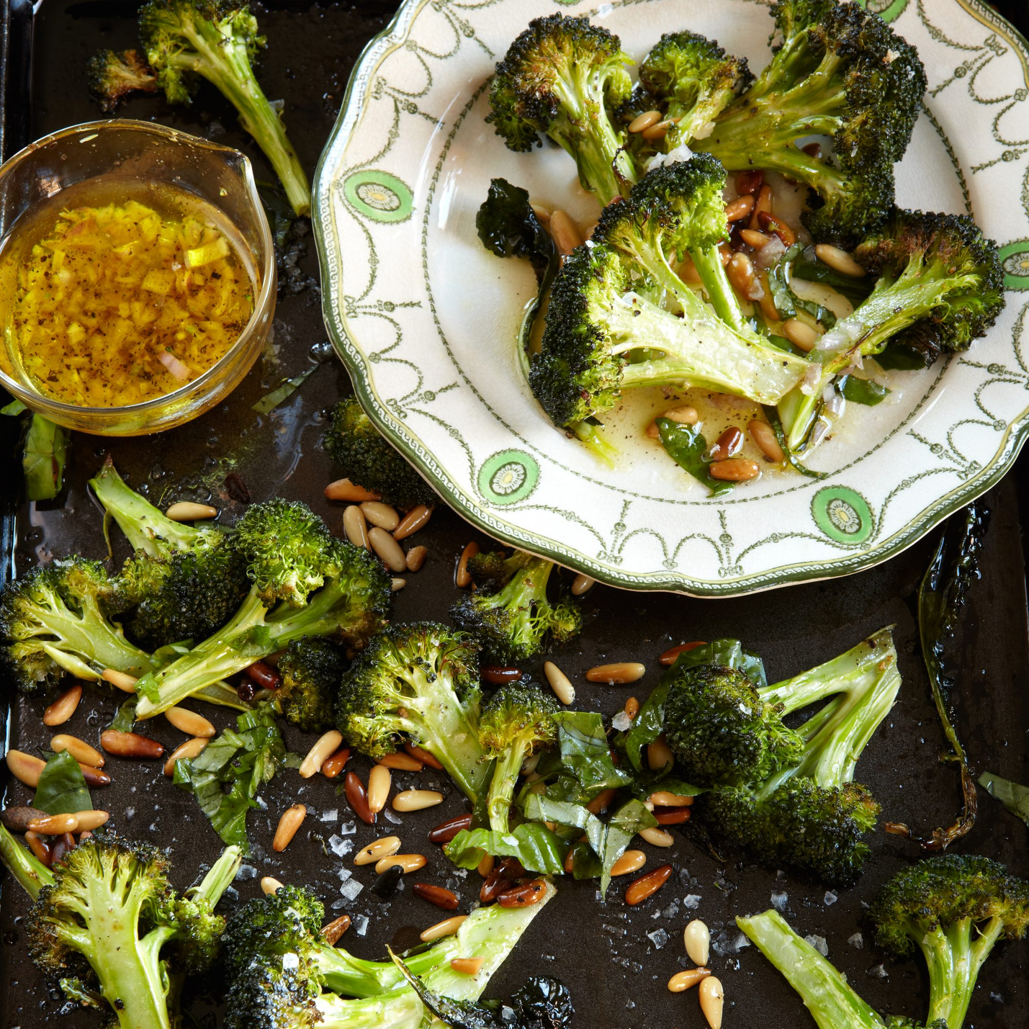 Healthy Roasted Broccoli with Lemon, Pine Nuts and Basil