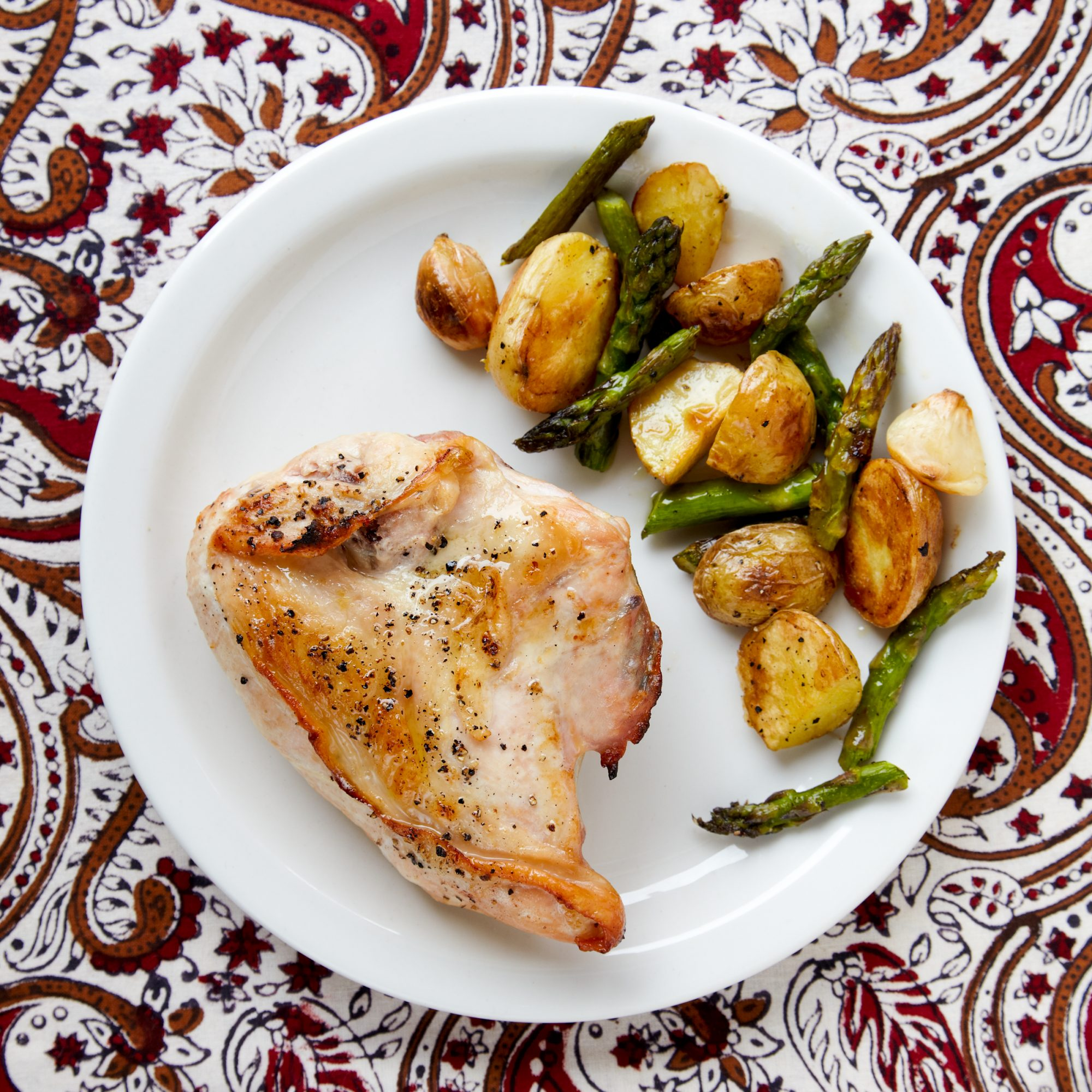 Roasted Chicken New Potatoes And Asparagus Recipe Quick From