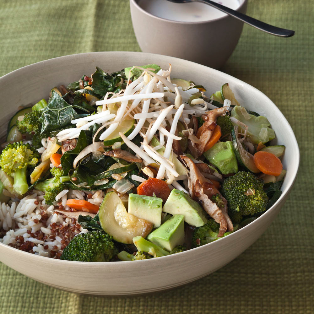 Quinoa and brown rice bowl with vegetables and tahini recipe gail quinoa and brown rice bowl with vegetables and tahini recipe gail simmons food wine forumfinder