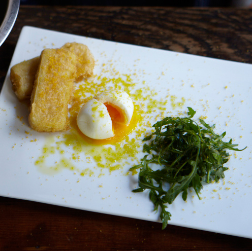 Panelle with Eggs and Bottarga
