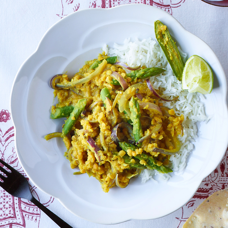 Red Lentil Dal with Tamarind and Asparagus
