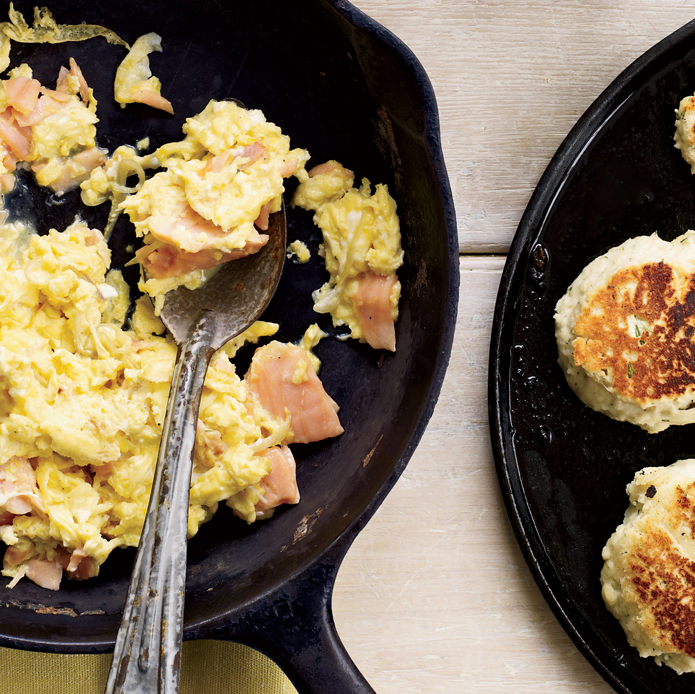 Smoked-Salmon Scramble with Dill Griddle Biscuits Recipe