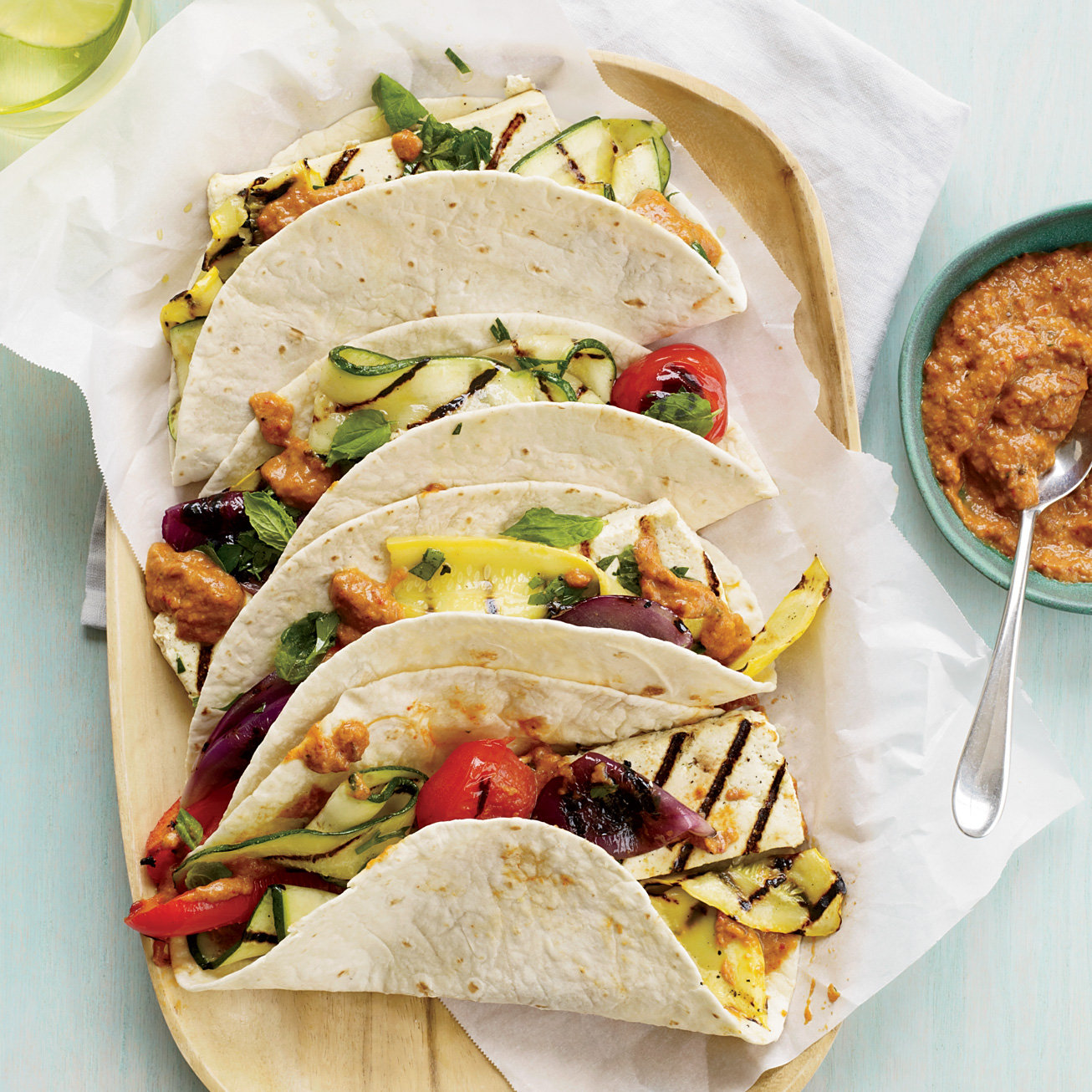 Healthy Recipe: Tofu-and-Vegetable Tacos with Eggplant-Ancho Spread