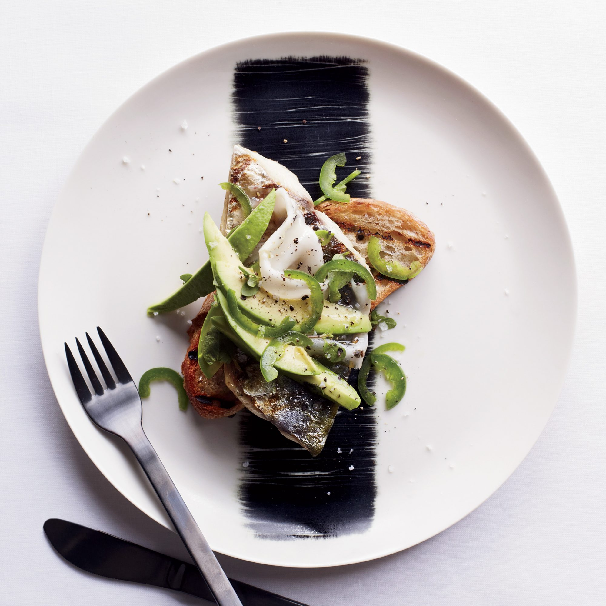 Grilled Mackerel with Lardo, Avocado and Jalapeño on Toast ...