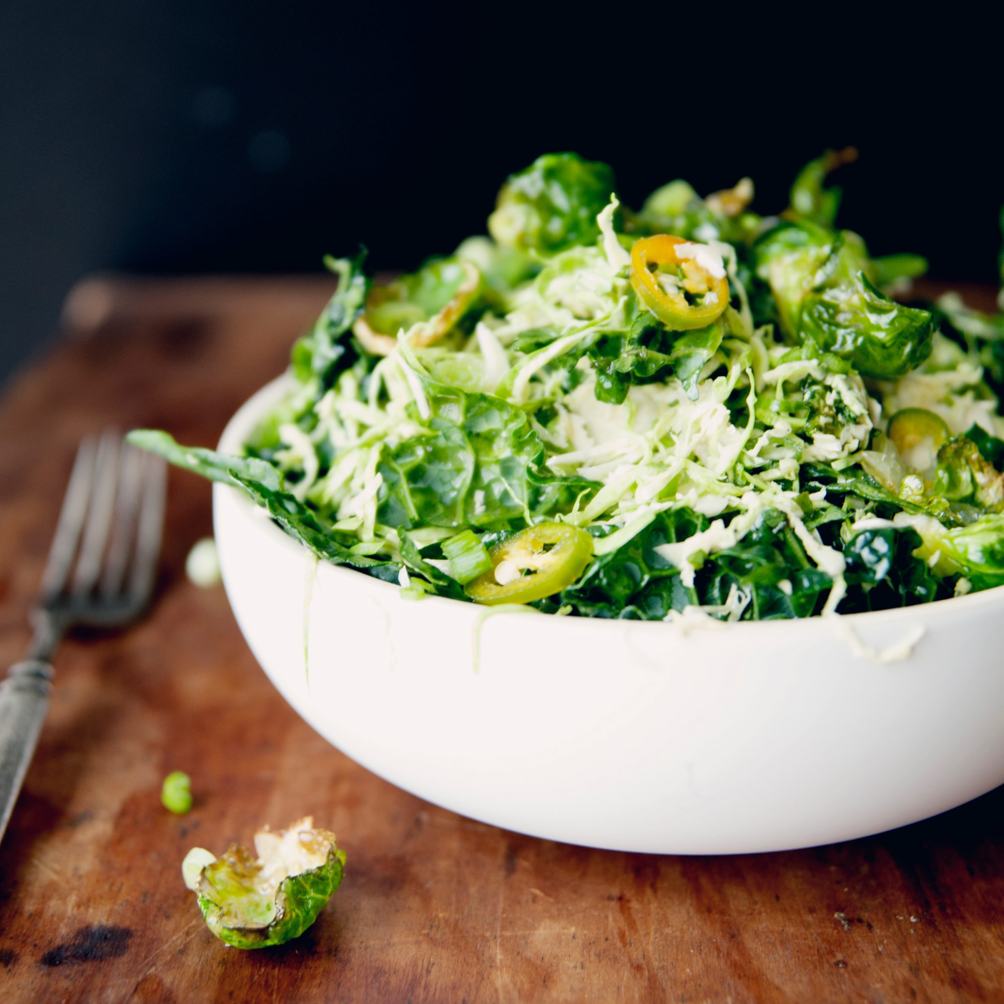 Raw and Fried Tuscan Kale and Brussels Sprout Salad