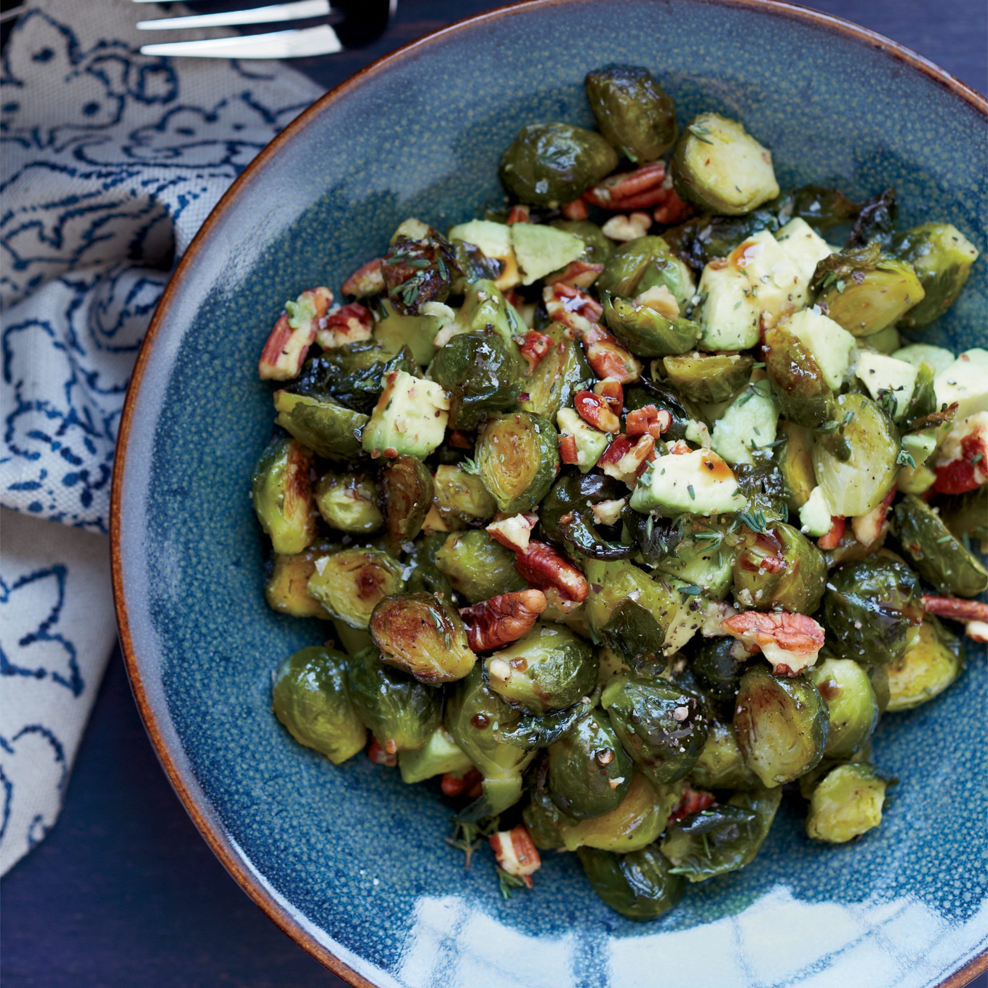 Roasted Brussels Sprouts with Toasted Pecans and Avocado