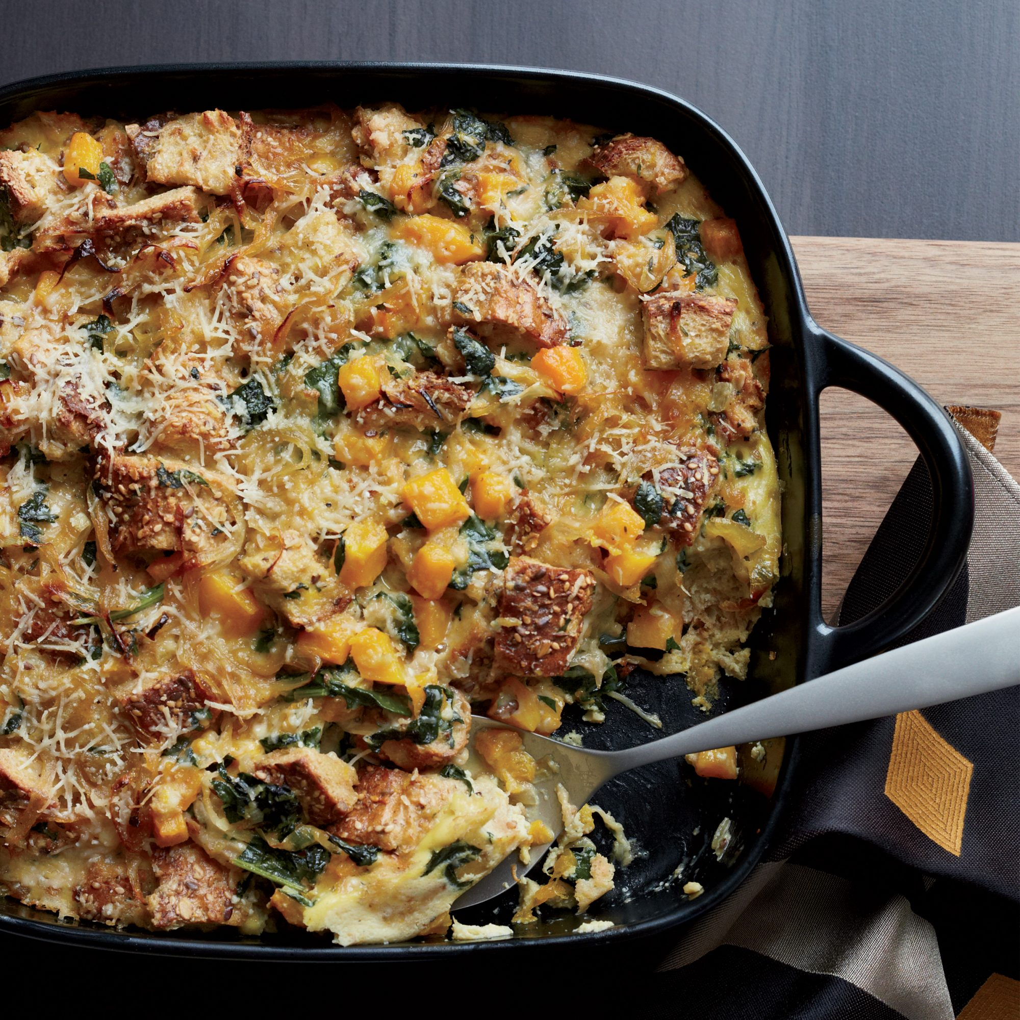 Butternut Squash And Kale Strata With Multigrain Bread