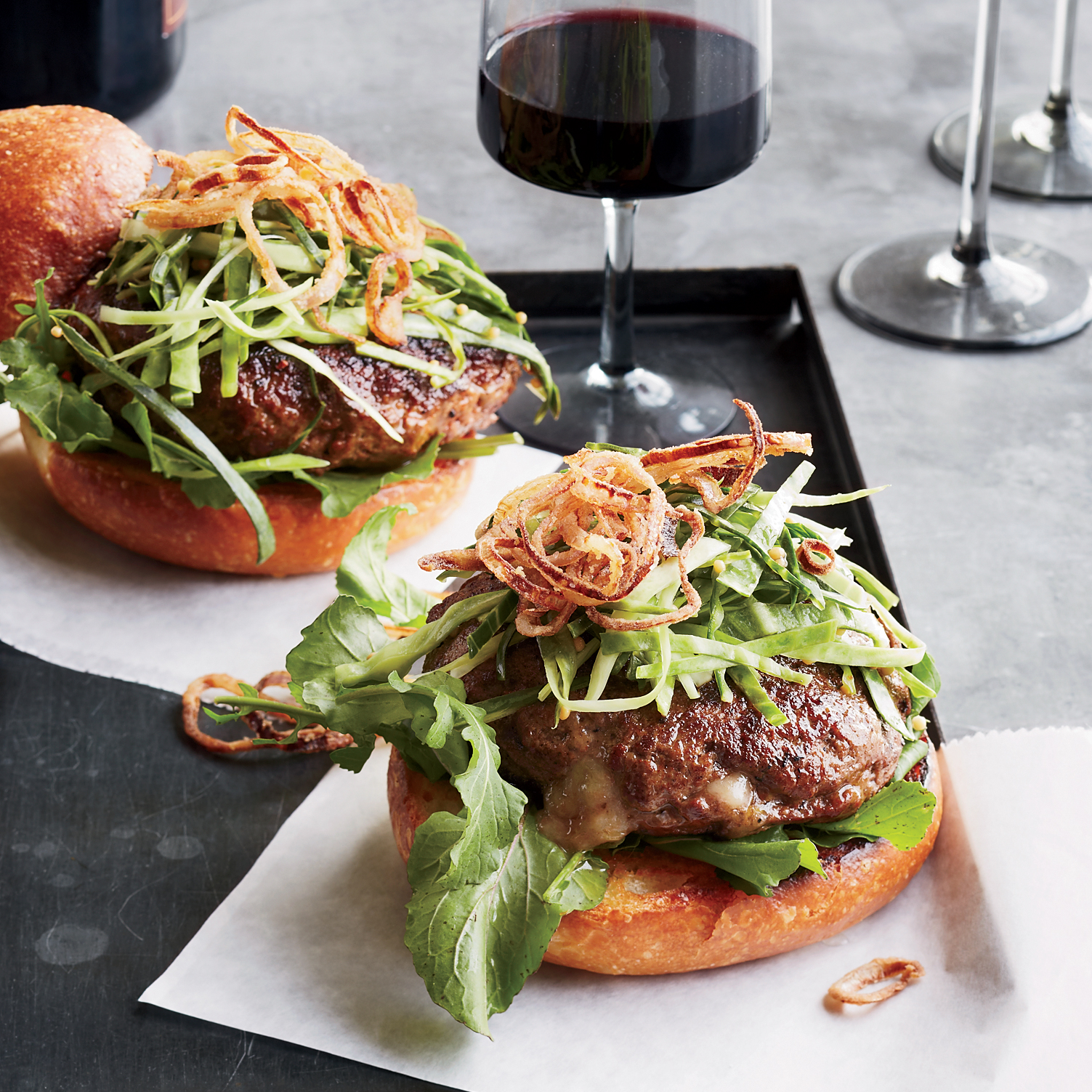 Cheddar-Stuffed Burgers with Pickled Slaw and Fried Shallots Recipe