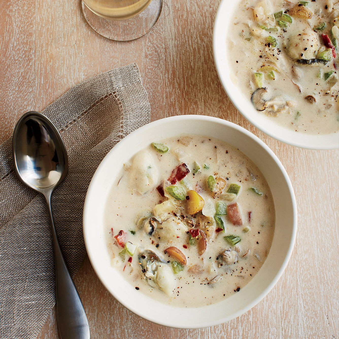 Smoky Oyster Chowder with Bacon, Rosemary and Fennel