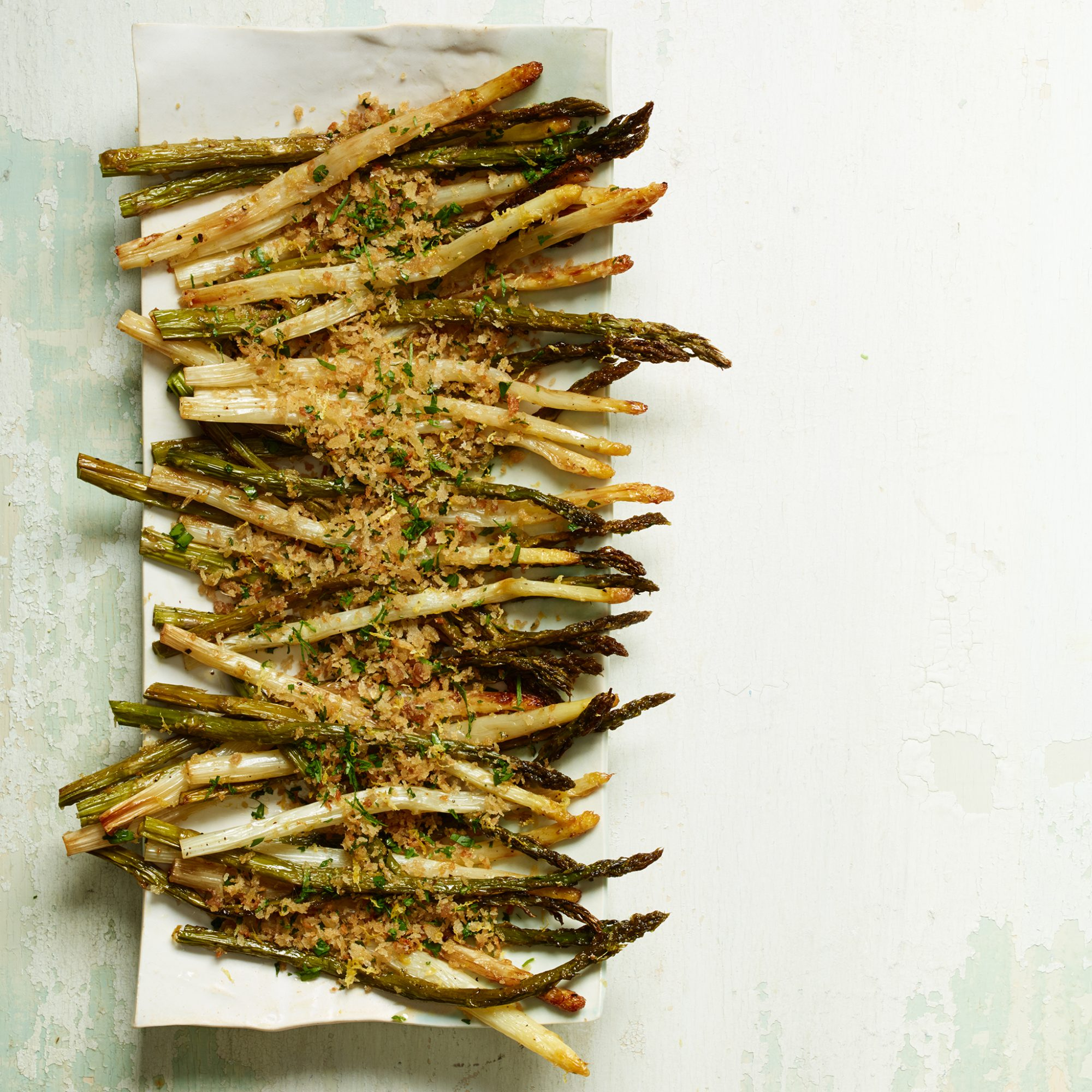 Roasted Asparagus with Lemony Bread Crumbs Recipe - Kay ...