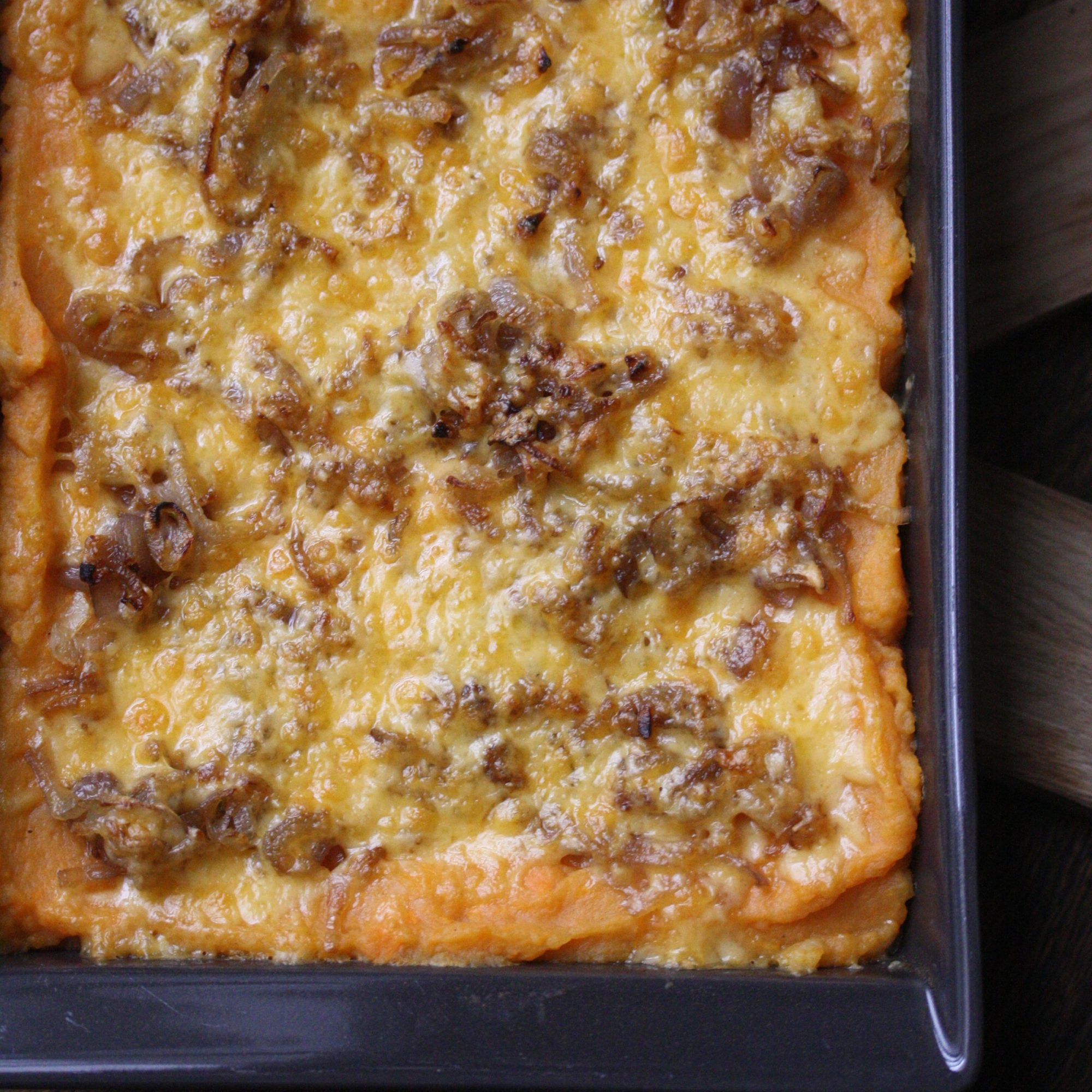 Gluten-Free Mashed Sweet Potato Gratin with Smoked Gouda and Shallots