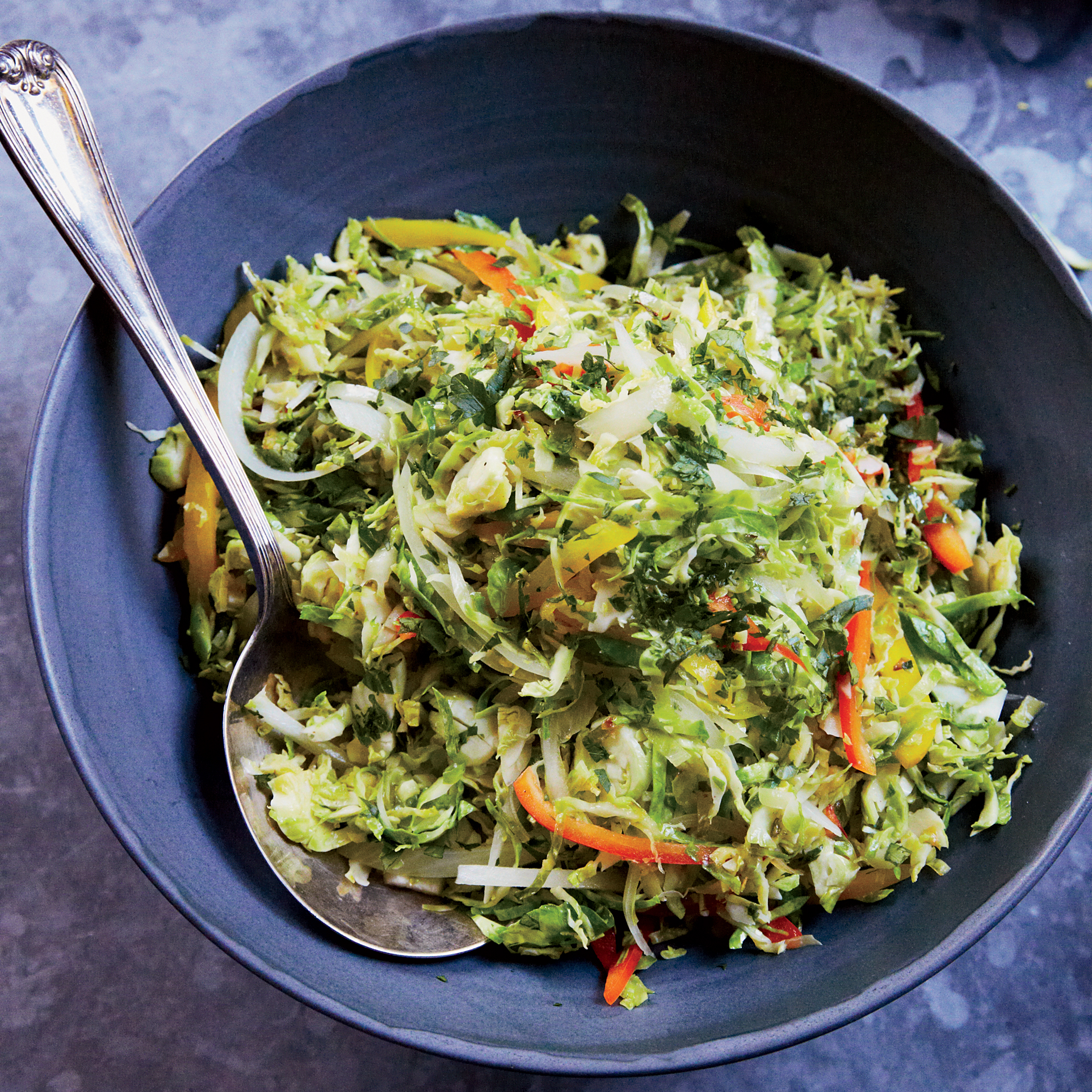 Sautéed Brussels Sprout Slaw with Sweet Peppers
