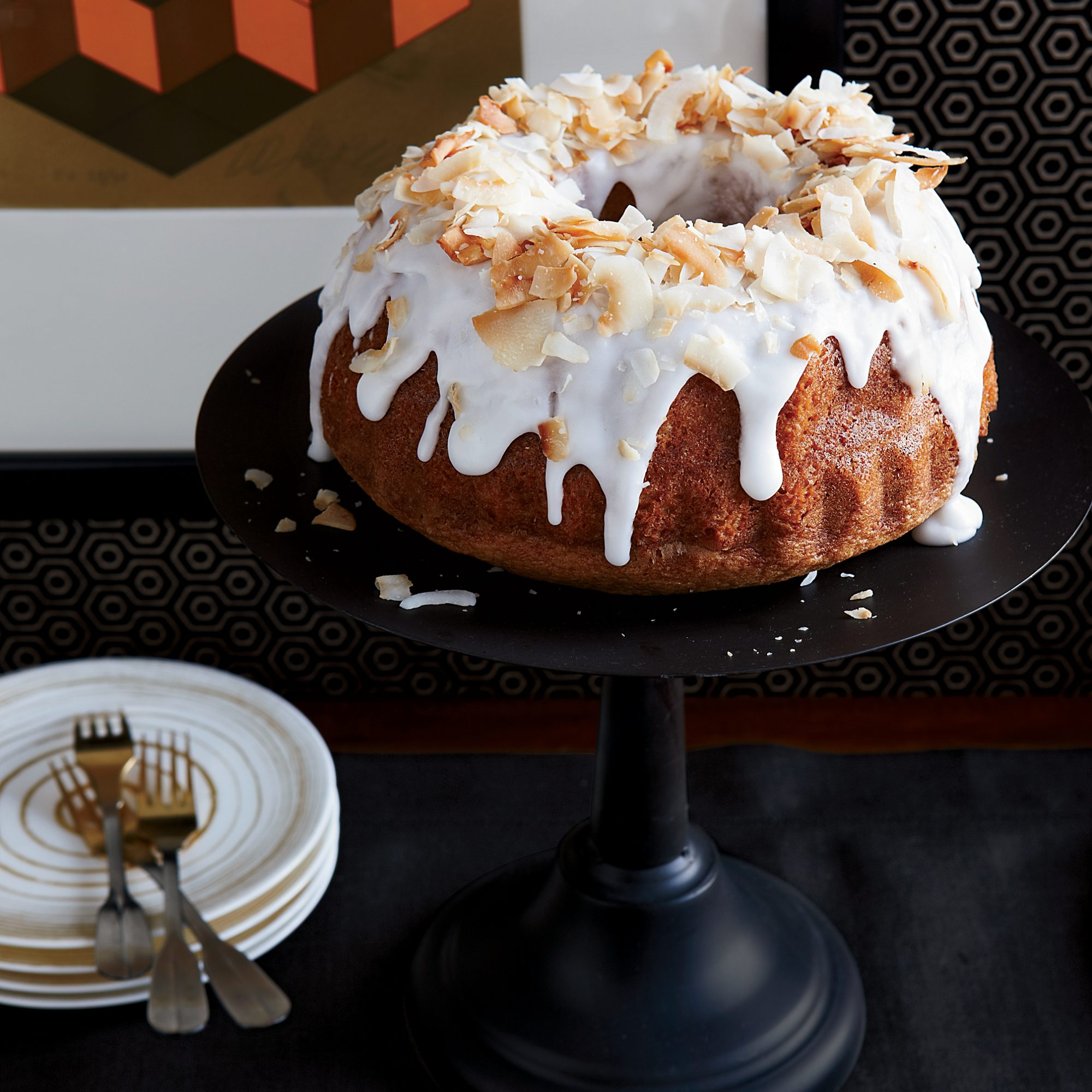 Coconut Chiffon Bundt Cake with Coconut Frosting