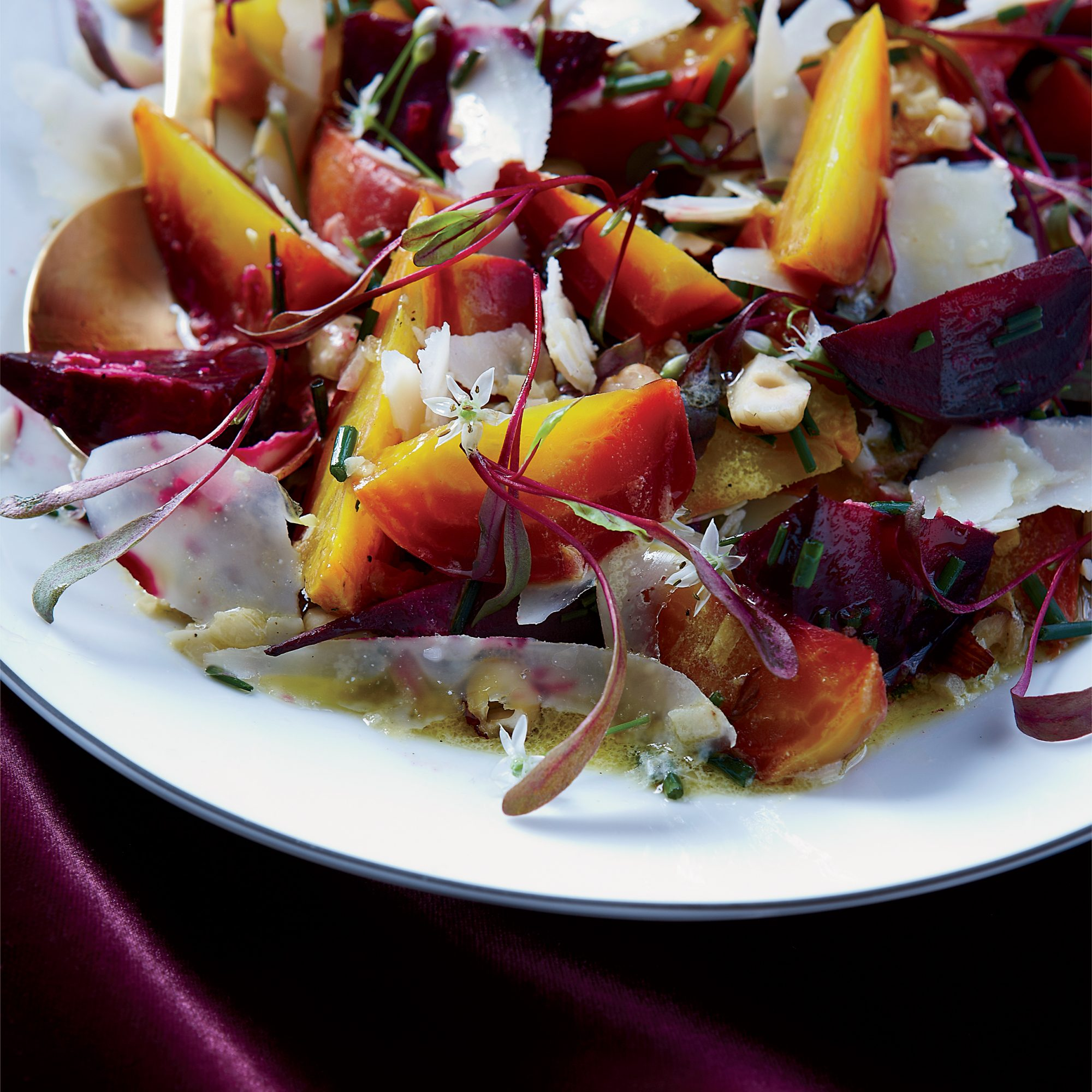 Roasted Beets with Hazelnuts and Goat Cheese