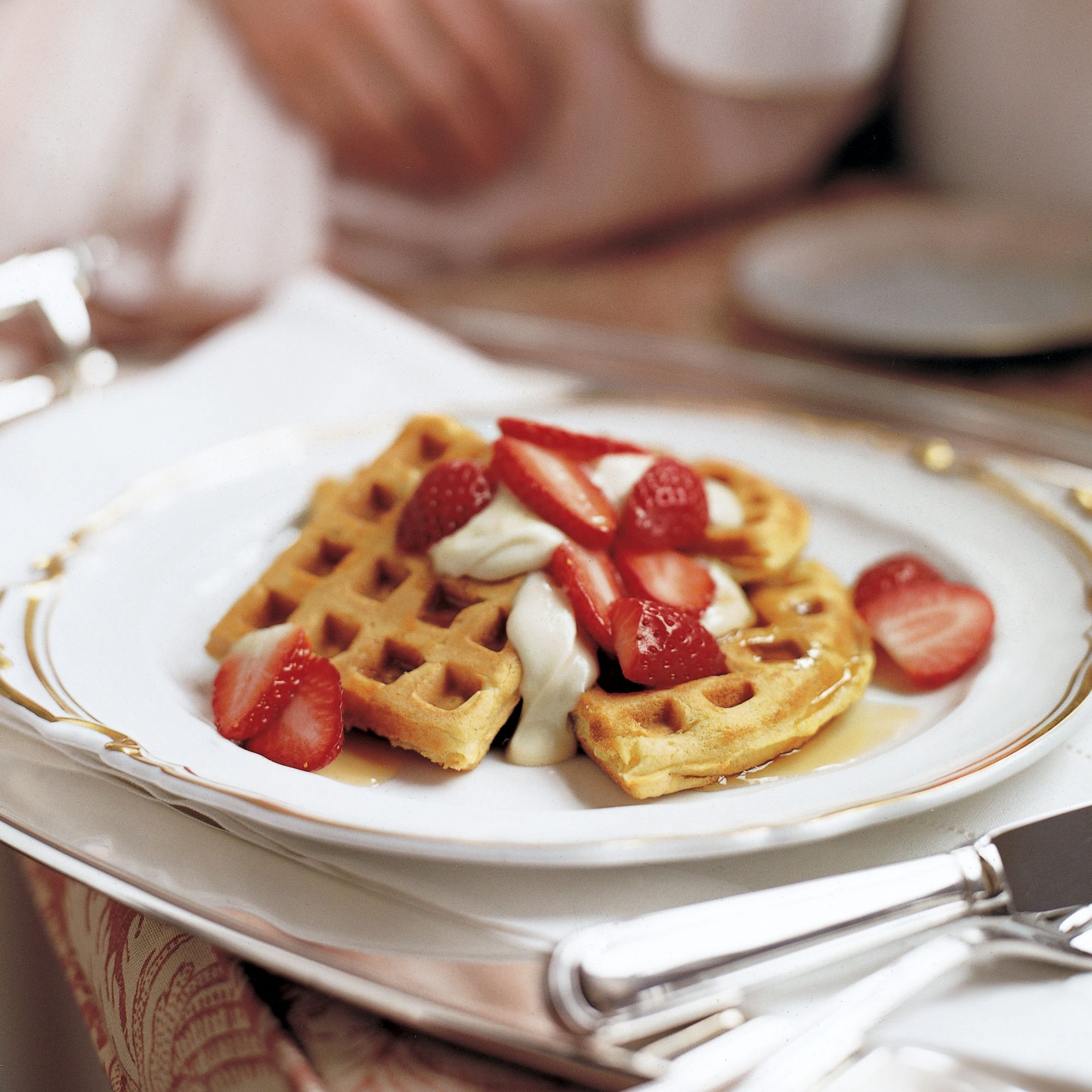 Buttermilk Waffles with Fresh Strawberries