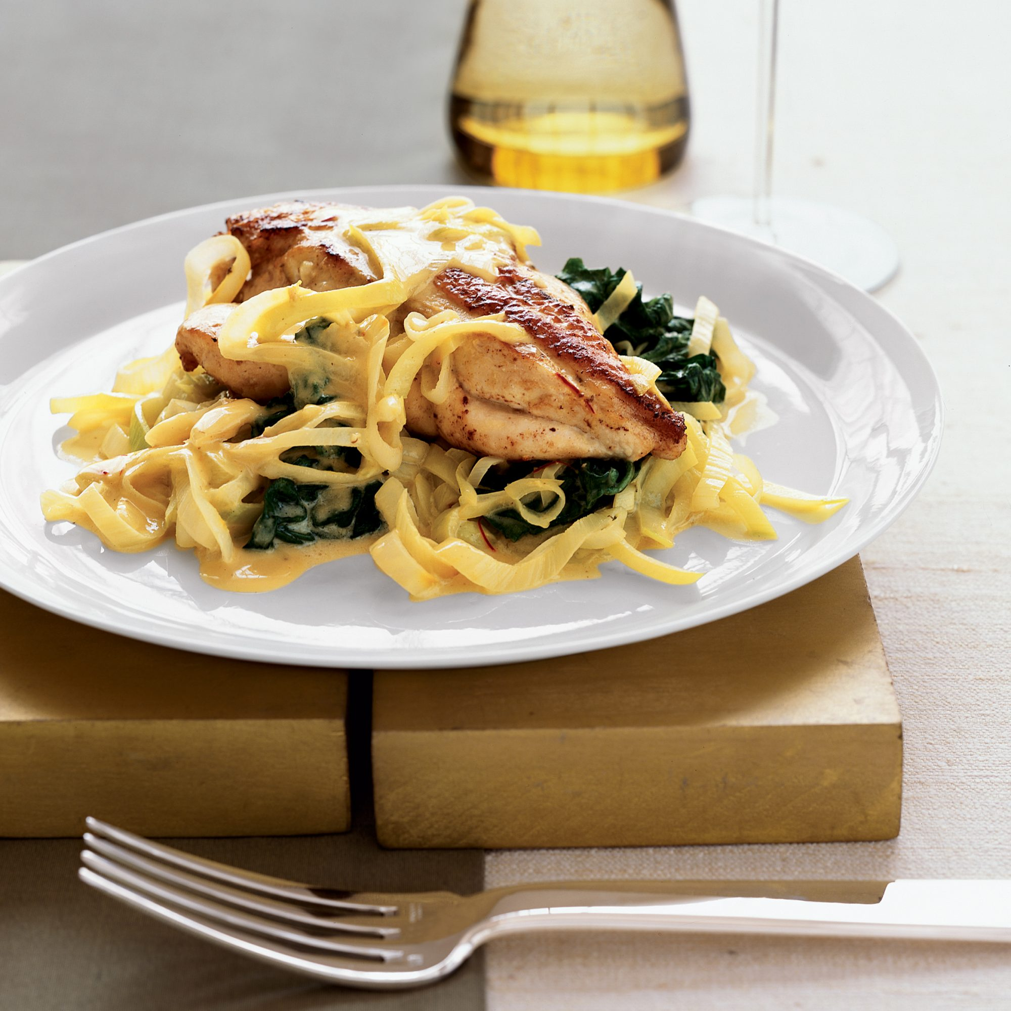 Chicken Breasts with Spinach, Leek and Saffron Sauce
