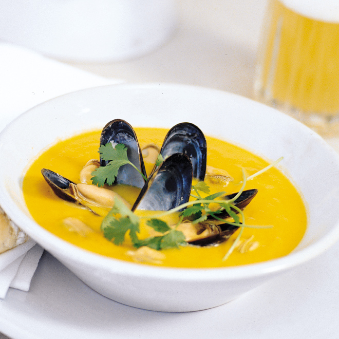 Curried Mussel and Butternut Squash Soup