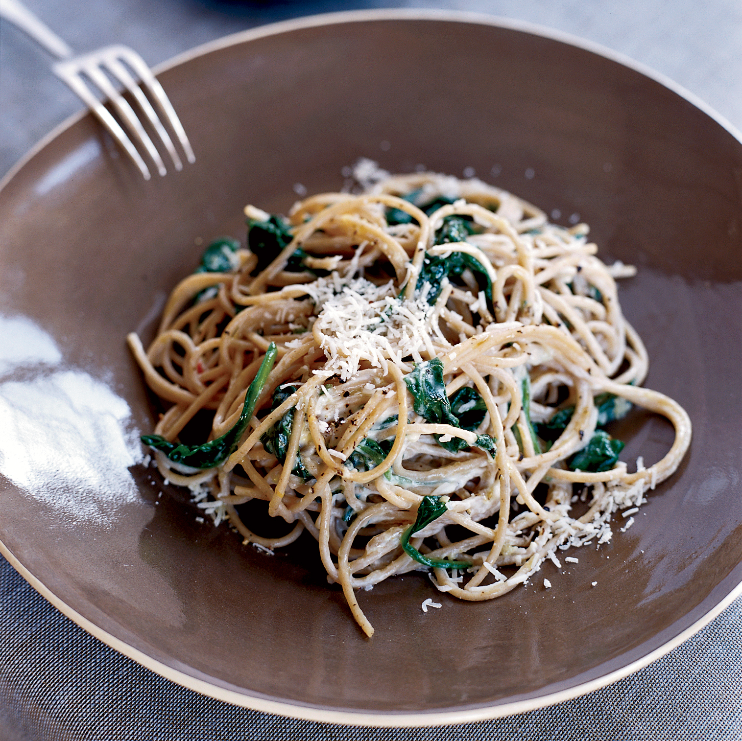Healthy Pasta Recipes like Spaghetti with Lemon, Chile and Creamy Spinach