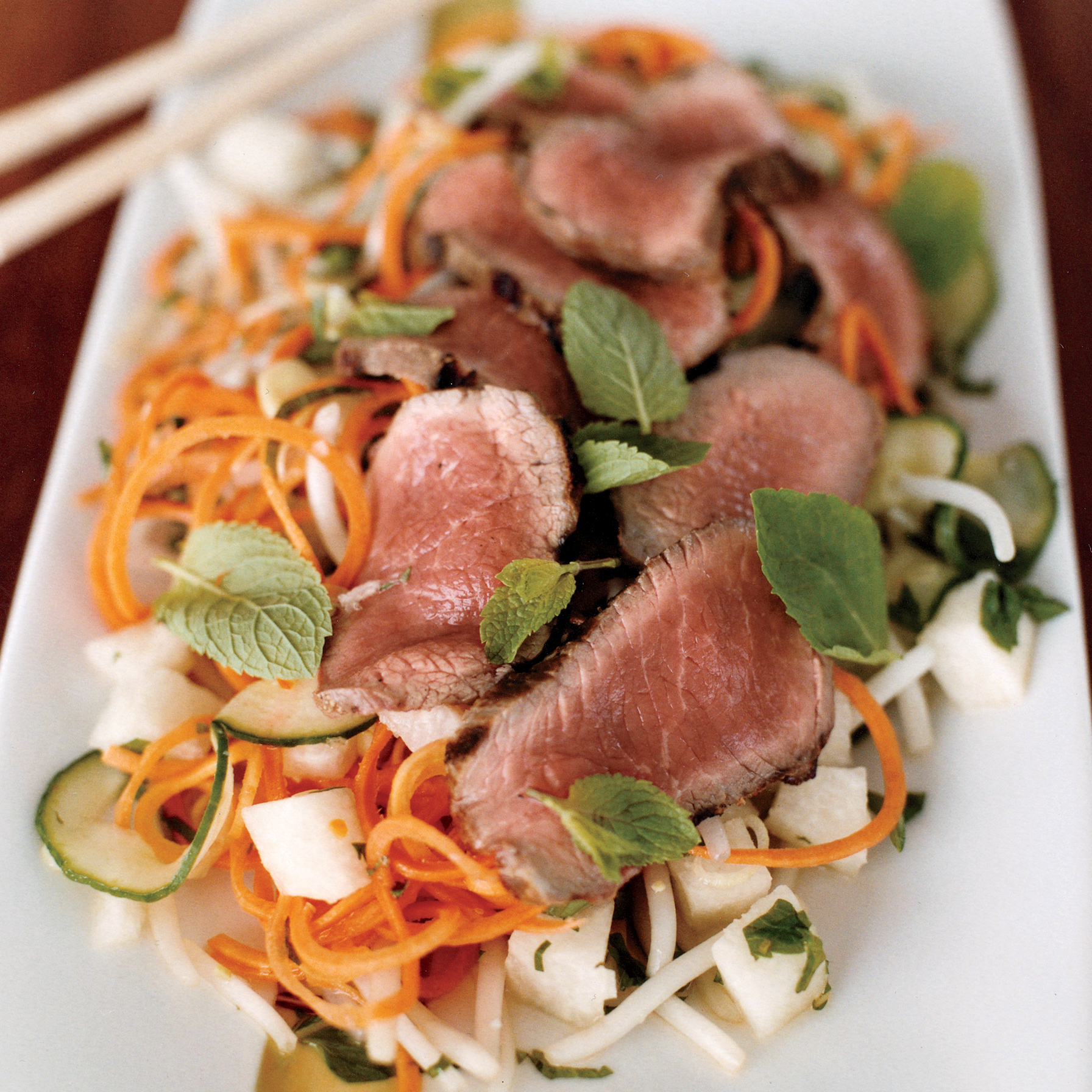 Jicama, Kirby and Carrot Salad with Charred Lamb