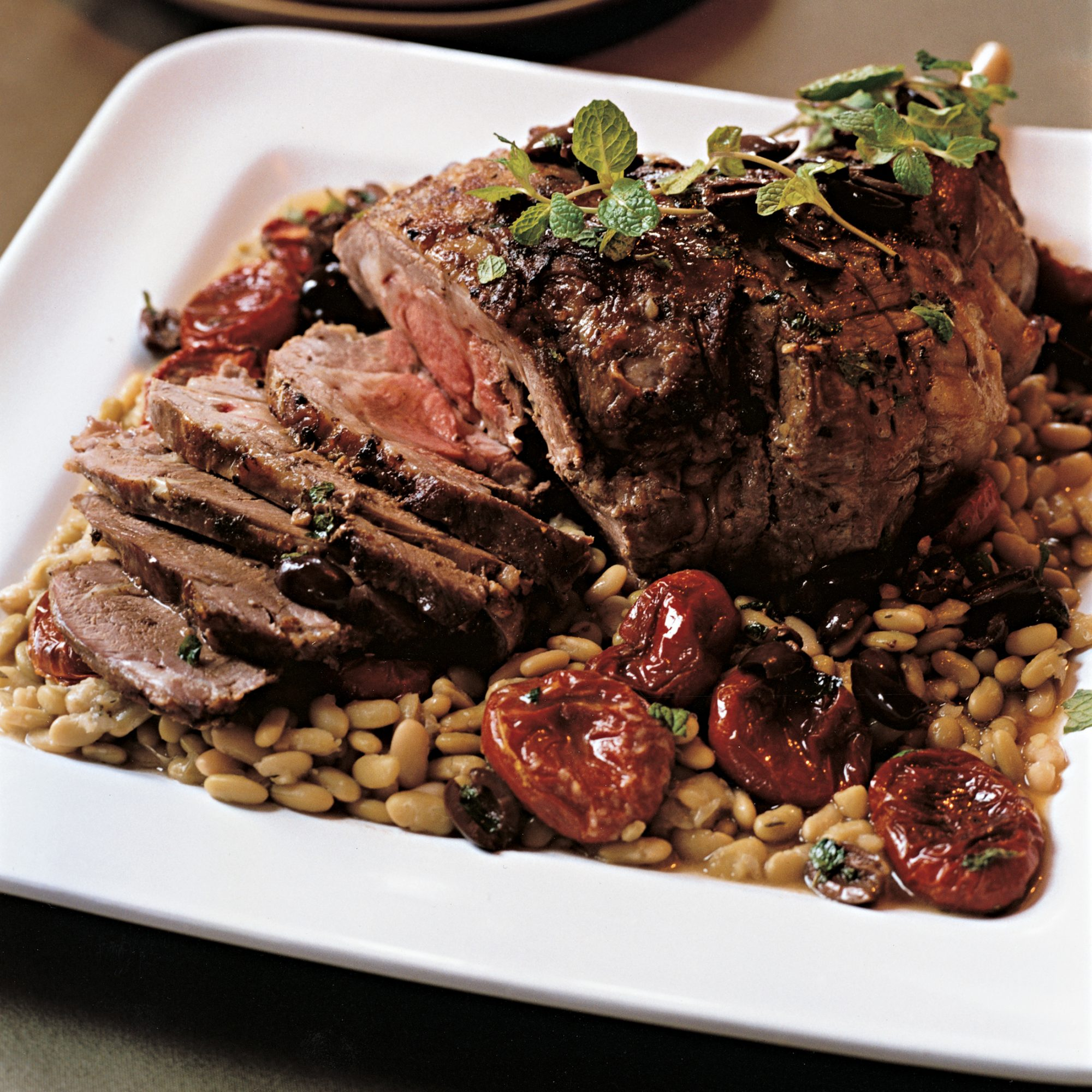 Lemon-and-Mint Roast Leg of Lamb with Flageolets