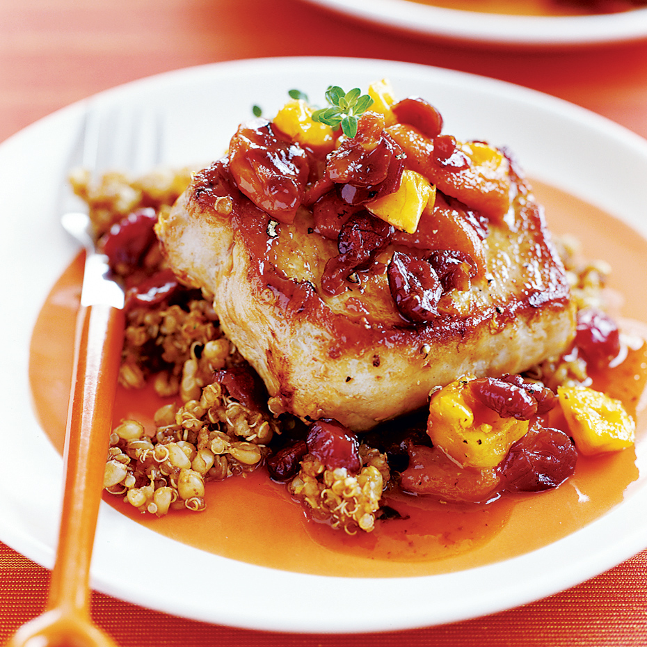 Pan Fried Pork Chops With Quinoa Pilaf And Dried Fruit