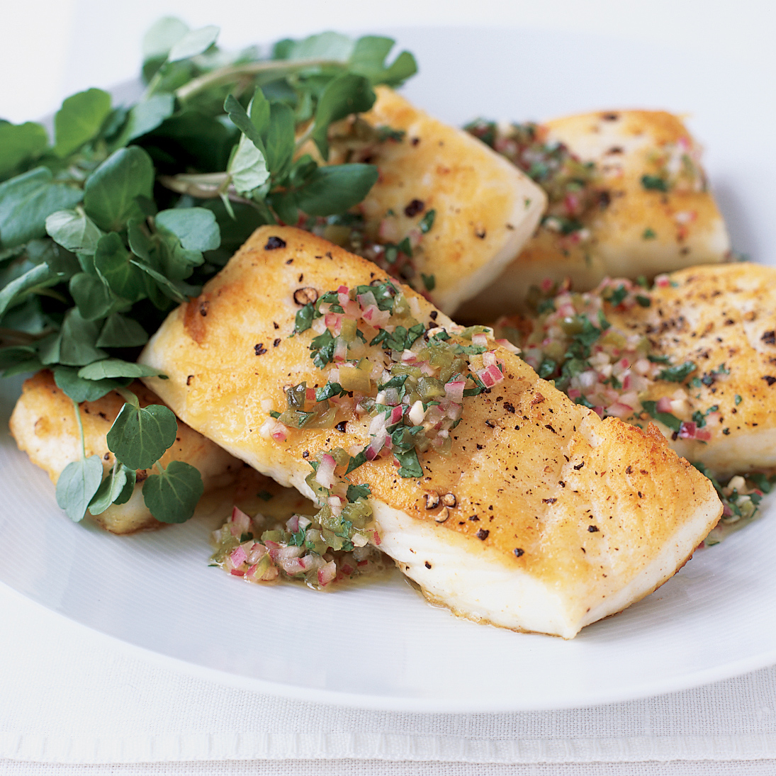 Pan Roasted Halibut With Jalape 241 O Vinaigrette Recipe Tom