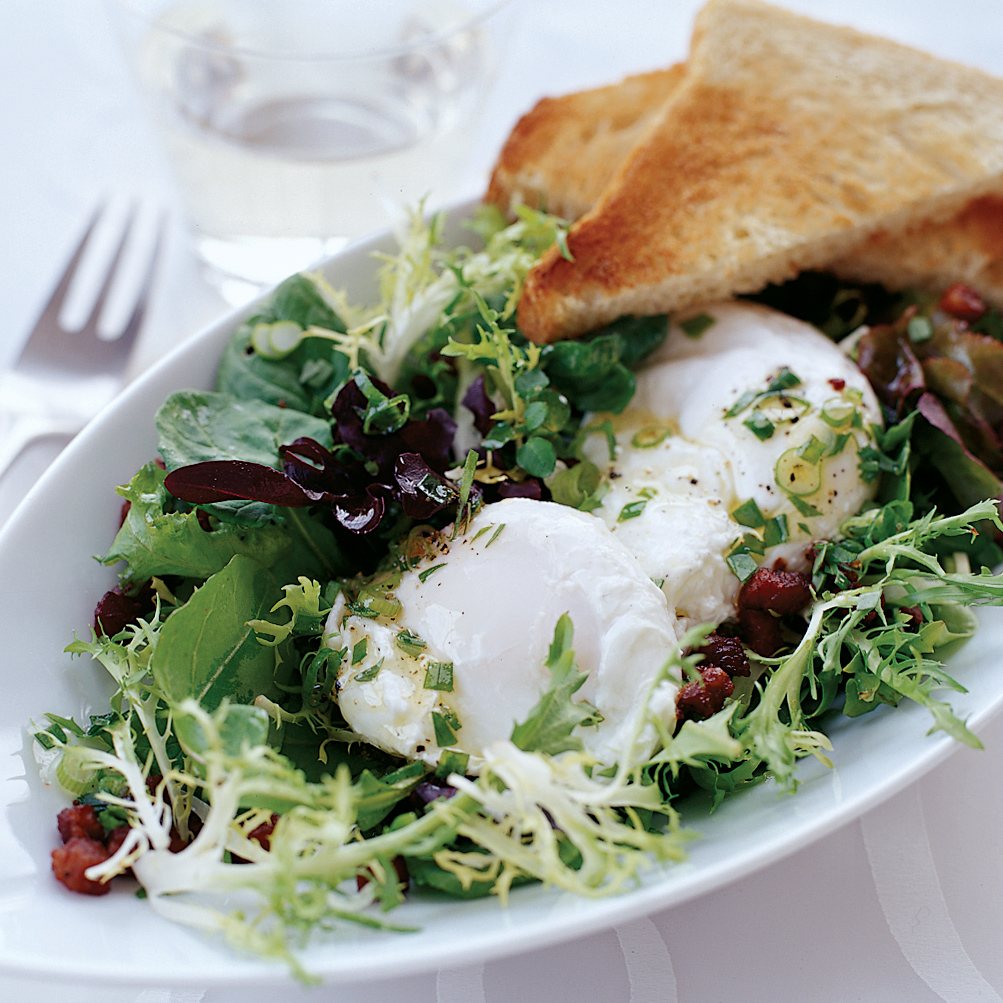 Poached Eggs with Pancetta and Tossed Mesclun