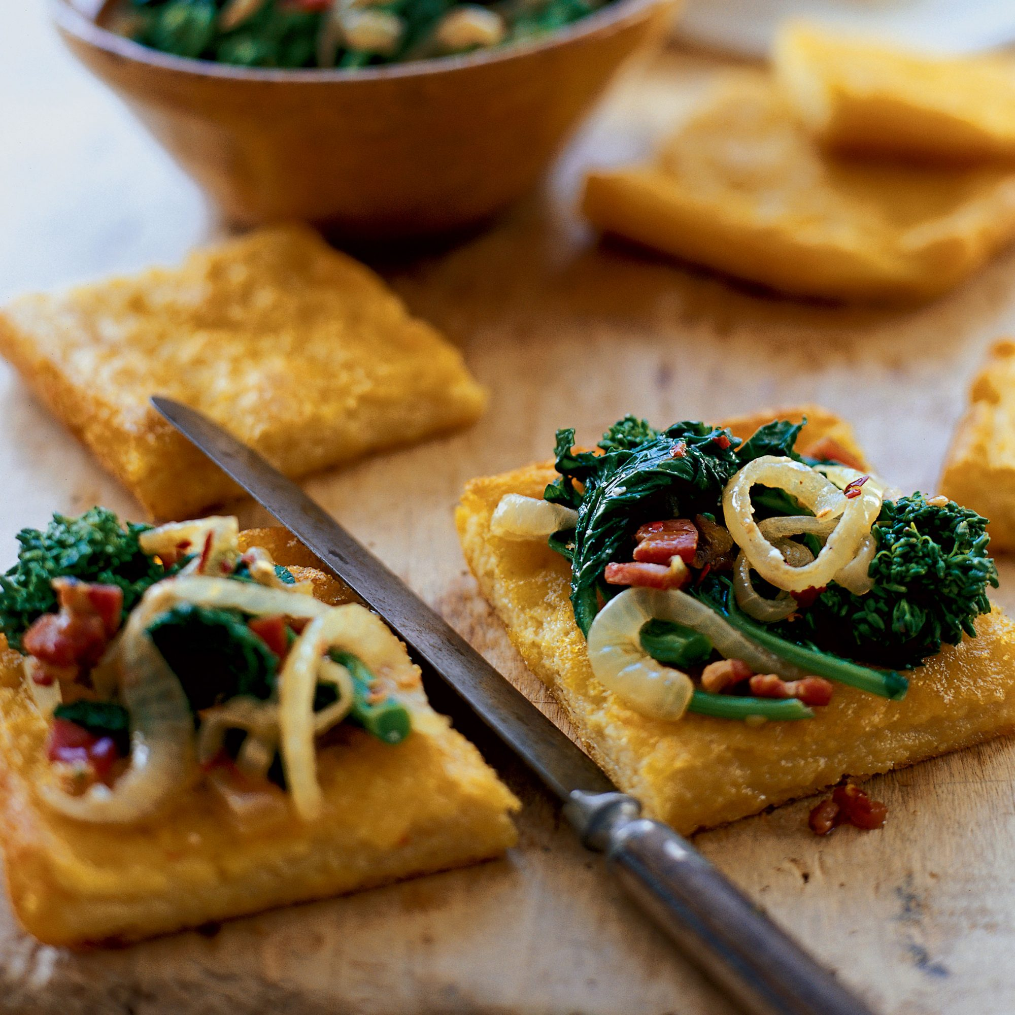 Polenta Squares With Saut Ed Broccoli Rabe And Pancetta Recipe