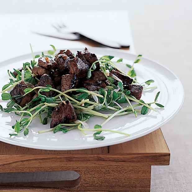 Shaking Beef with Pea Shoot Salad
