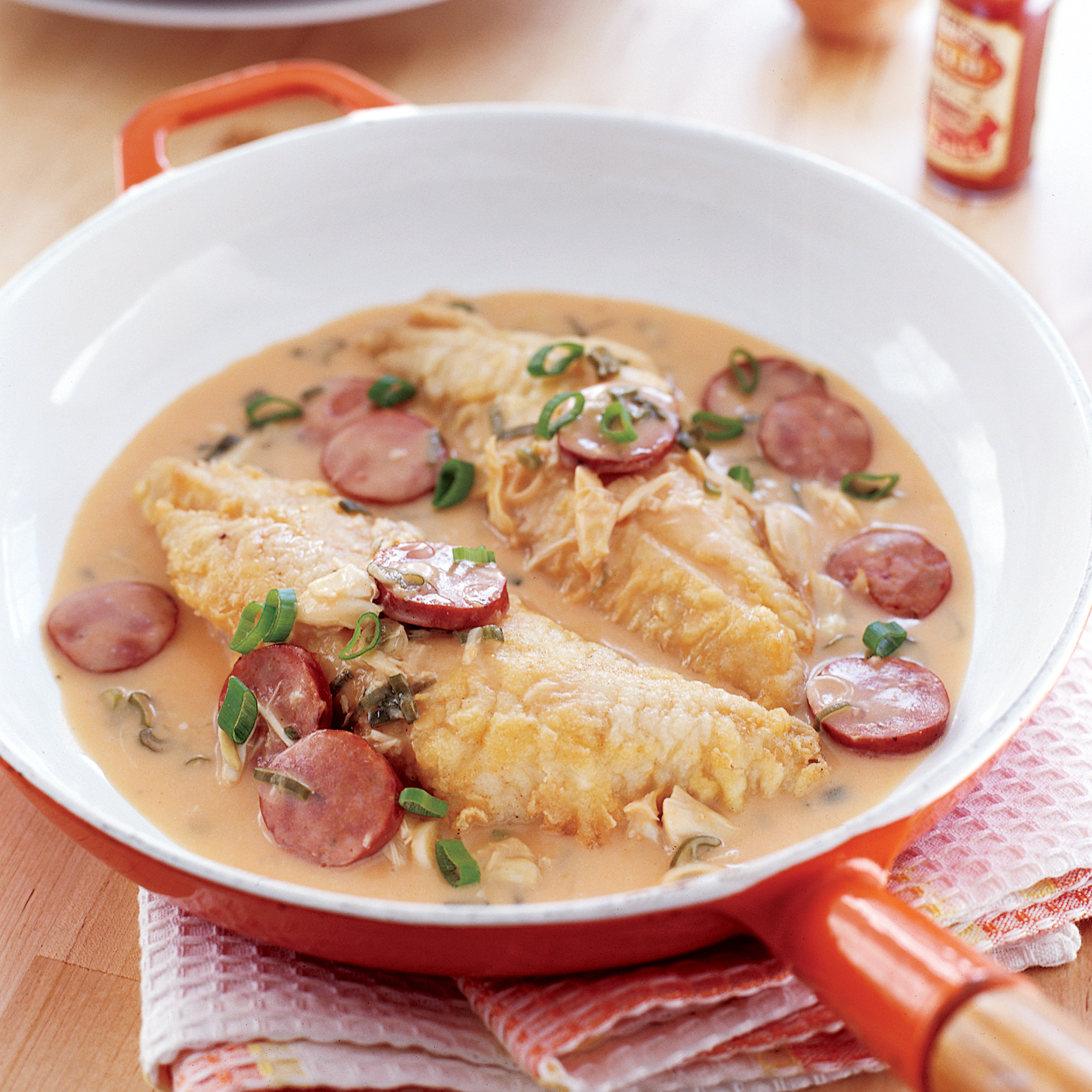 Snapper with Spicy Crab-and-Andouille Sauce