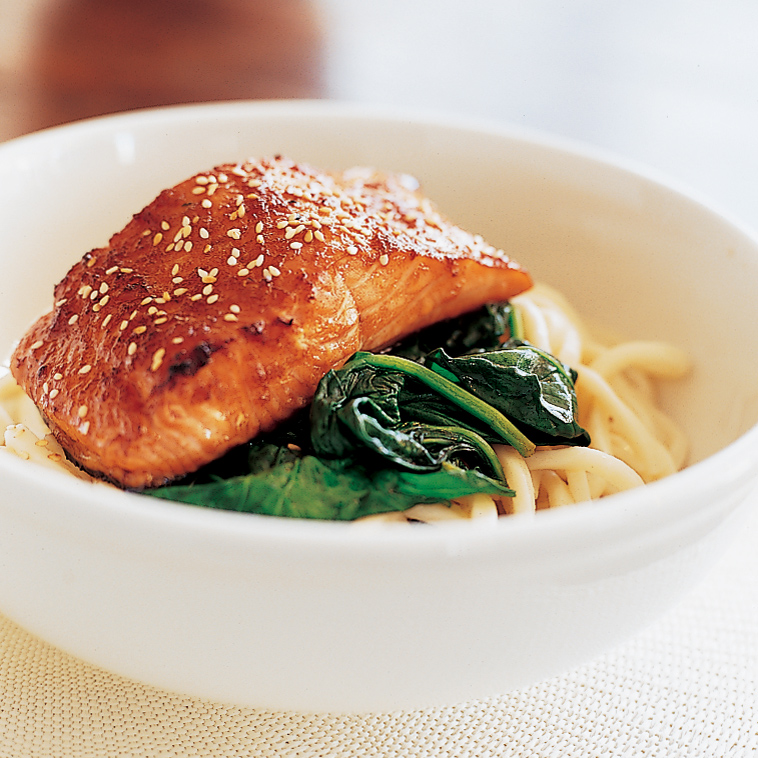 Soy-and-Ginger-Glazed Salmon with Udon Noodles Recipe - Annabel ...