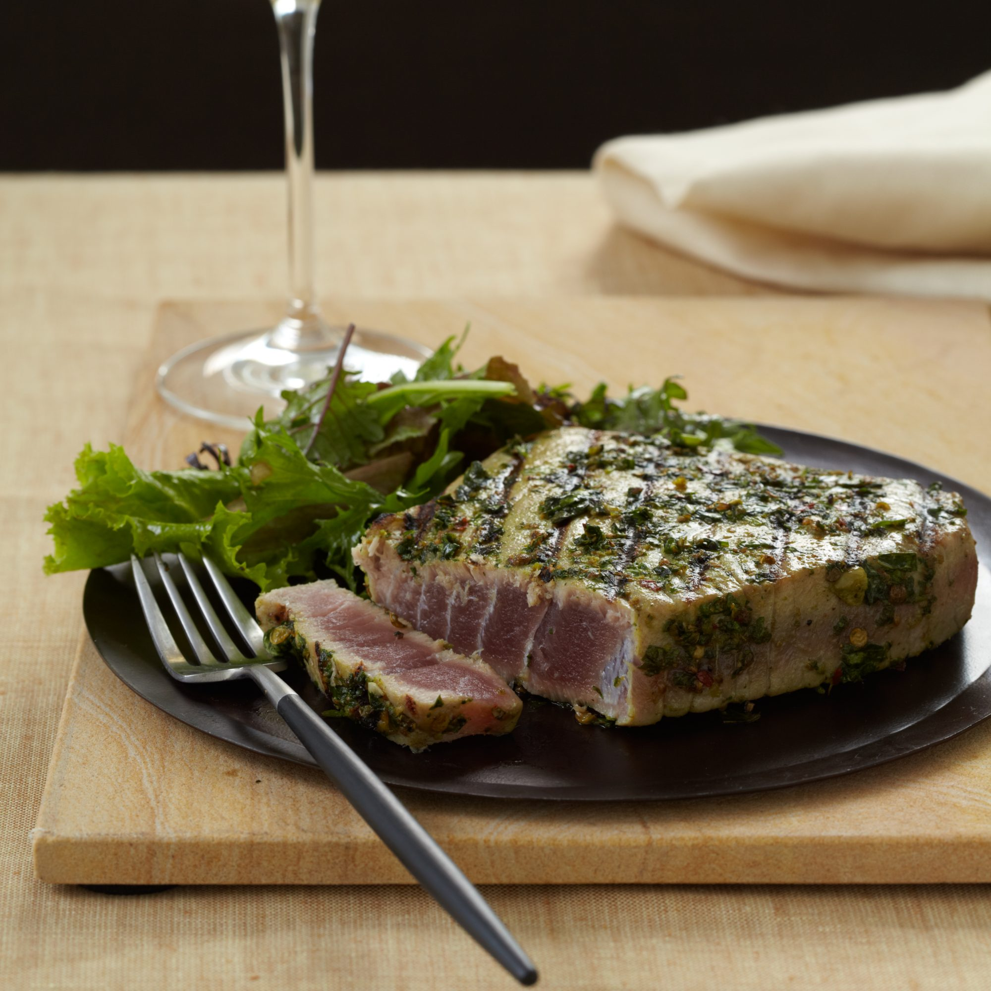 Spice-Crusted Tuna Steaks with Cilantro and Basil Recipe - Jamie ...