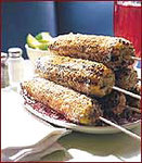 Chile-Spiked Grilled Corn Rolled in Cotija Cheese