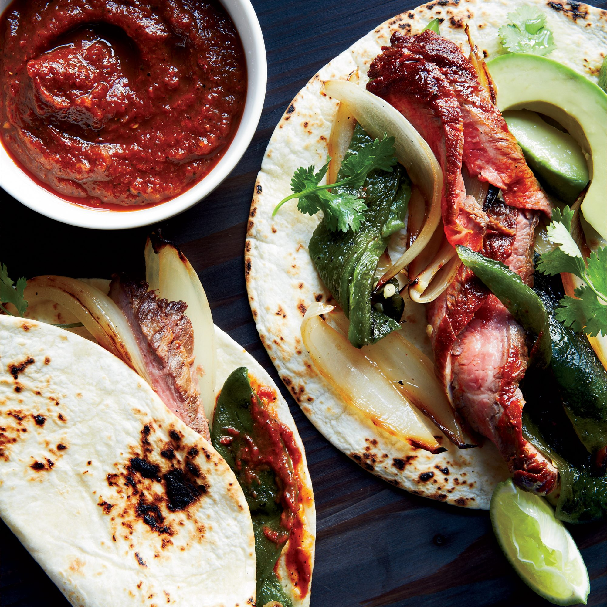 Steak Fajitas with Charred-Tomato Hot Sauce Recipe - Kay ...