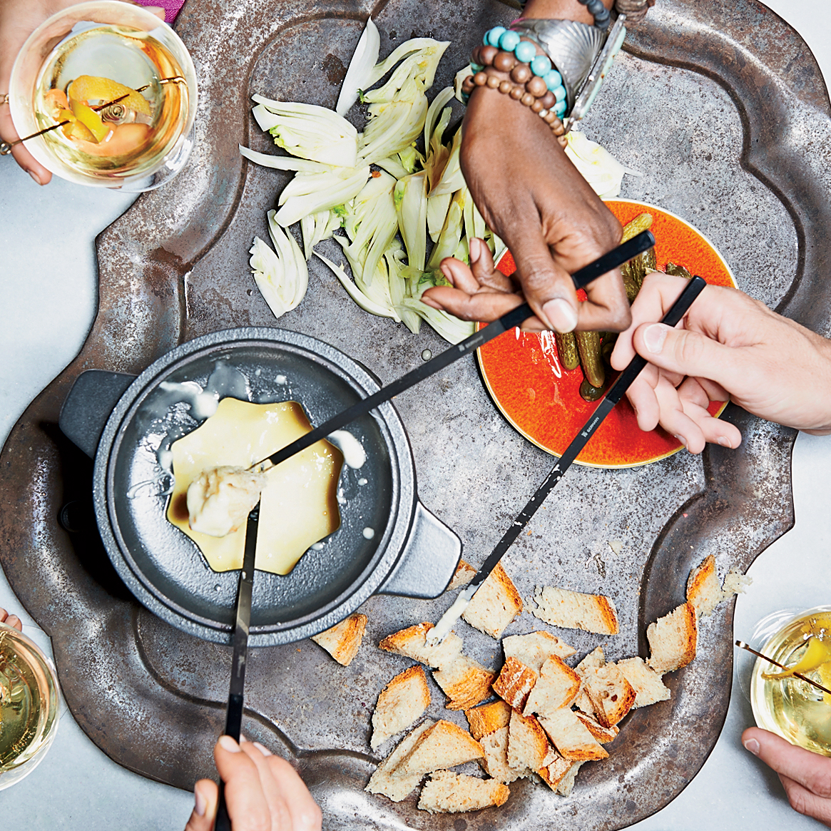Three-Cheese Fondue with Pickles