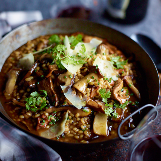 Barley Risotto with Garlicky Mushrooms